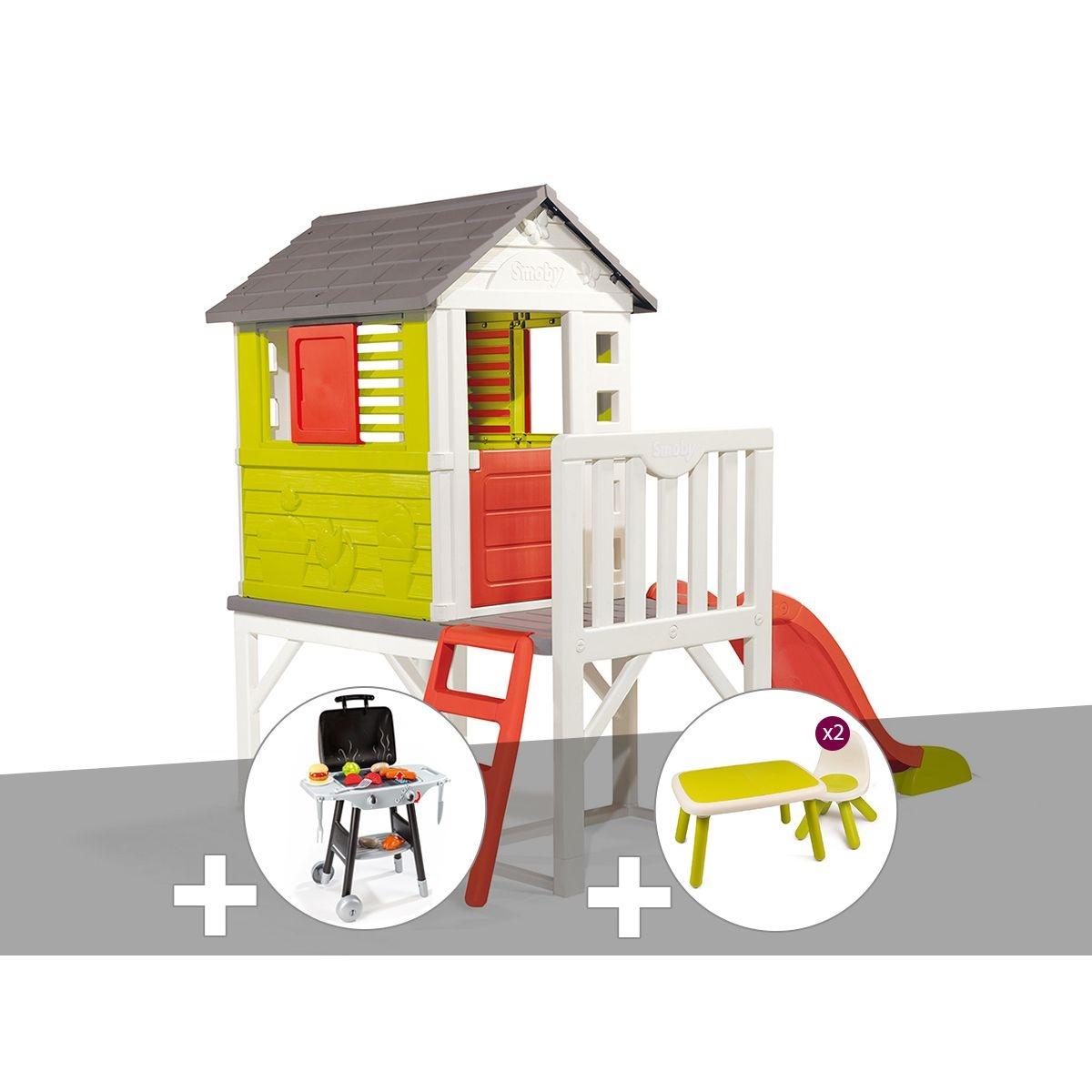 Cabane enfant Pilotis - Smoby + Plancha + Table et 2 chaises