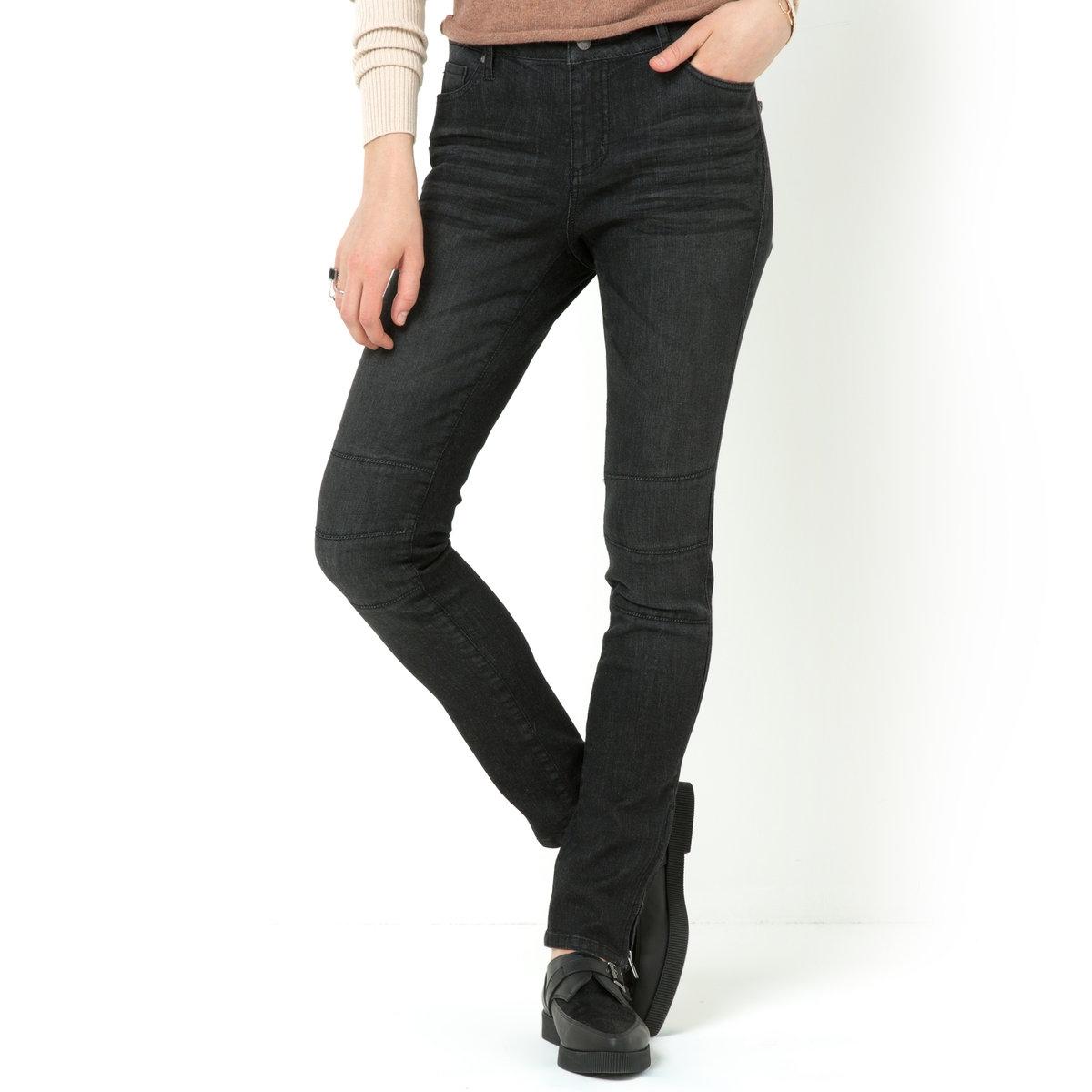 Джинсы облегающего покроя в байкерском стиле из денима стретчДжинсы в байкерском стиле: 98% хлопка, 2% эластана. Облегающая (зауженная) модель. Отрезные детали на коленях. Низ брючин с молниями. Длина по внутр.шву 74,5 см. Ширина по низу 13,5 см.<br><br>Цвет: черный размытый<br>Размер: 38 (FR) - 44 (RUS)