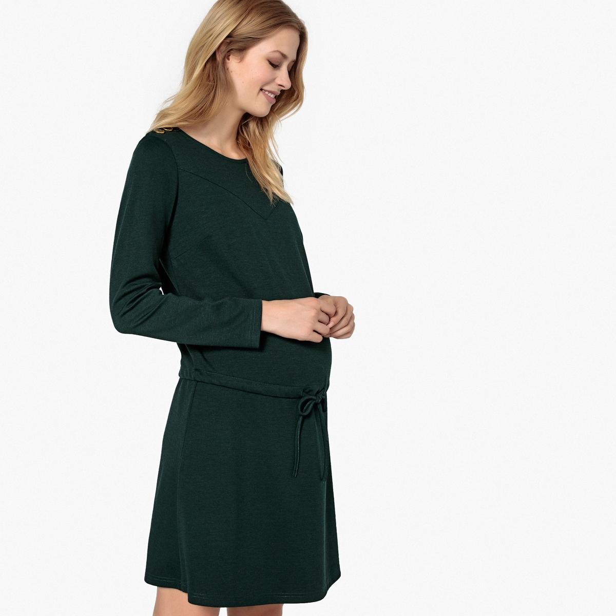 Платье La Redoute С длинными рукавами из трикотажа для периода беременности L зеленый платье la redoute из трикотажа для периода беременности s другие
