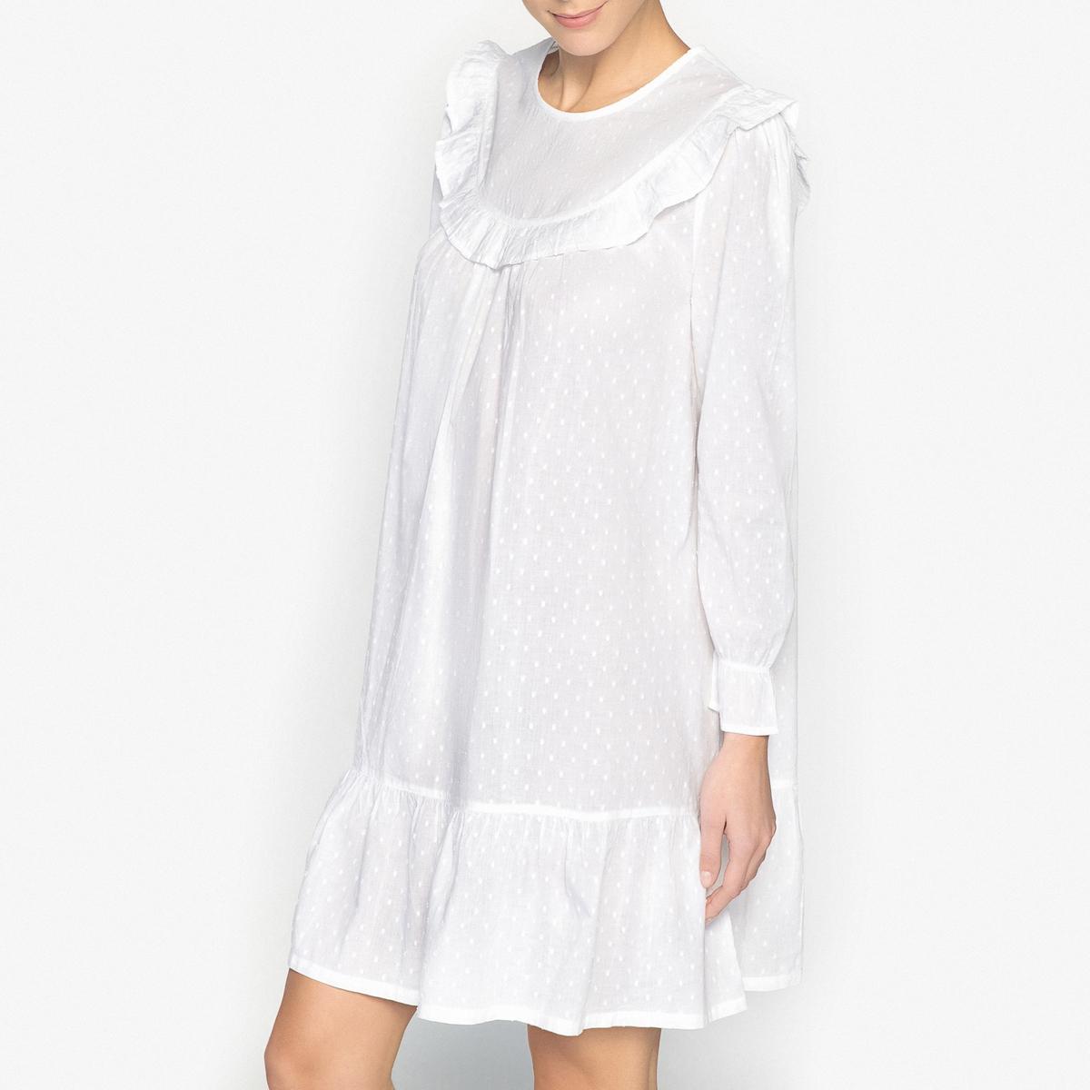 Koszula nocna, tkanina plumetis i falbanki