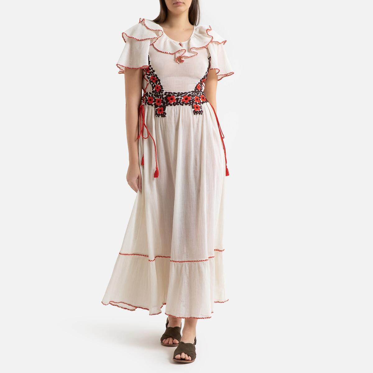 Платье La Redoute Длинное с воланами короткие рукава PAOLA 38 (FR) - 44 (RUS) бежевый