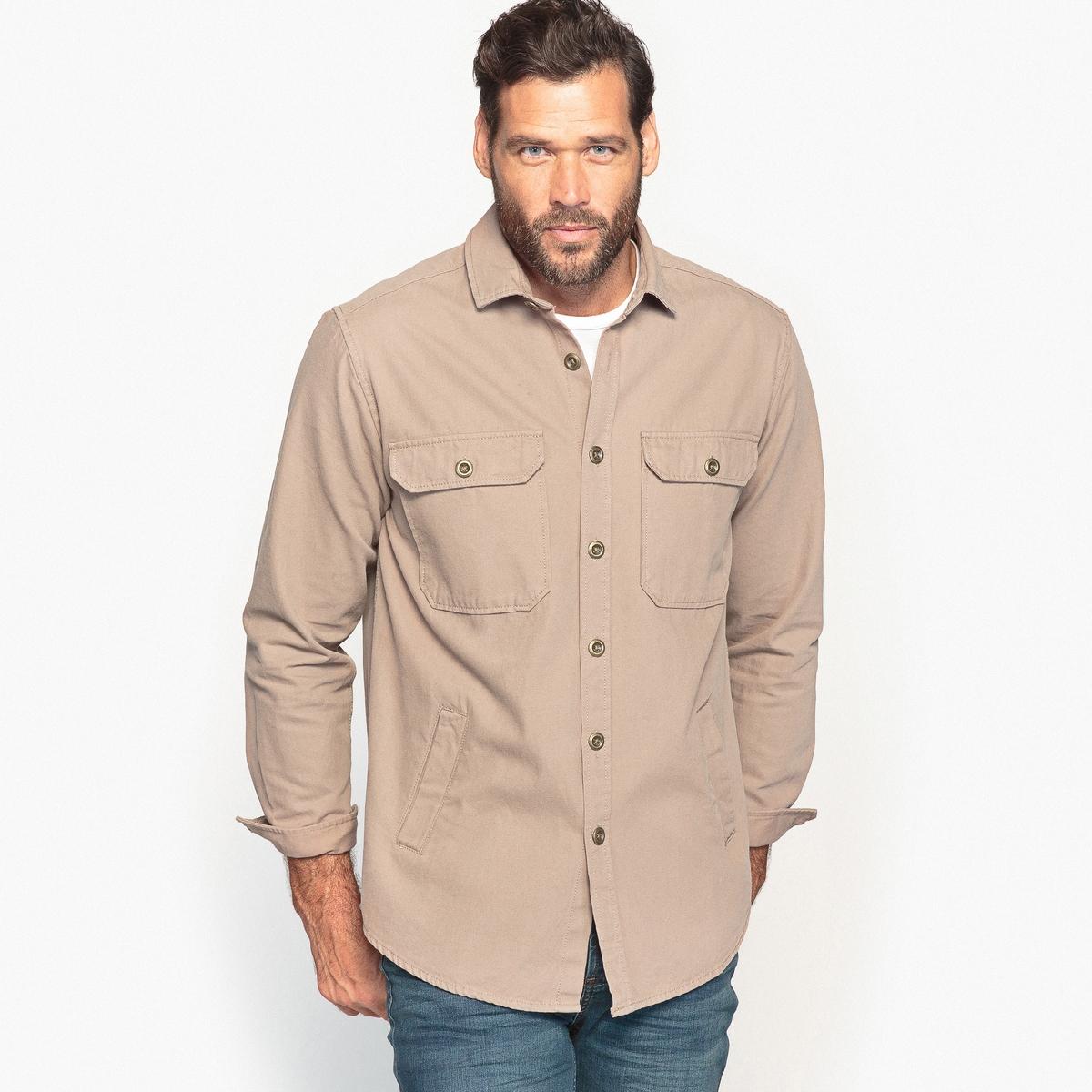 Рубашка однотонная с длинными рукавамиРубашка с несколькими карманами хорошо смотрится поверх футболки с джинсами. Рубашка в свободном стиле, ее можно носить расстегнутой или застегнутой. Детали •  Длинные рукава •  Прямой покрой  •  Классический воротникСостав и уход •  100% хлопок  •  Стирать при 40° •  Сухая чистка и отбеливание запрещены • Барабанная сушка на деликатном режиме   •  Низкая температура глажкиТовар из коллекции больших размеров<br><br>Цвет: серо-коричневый<br>Размер: 74/76.82/84.62/64.70/72
