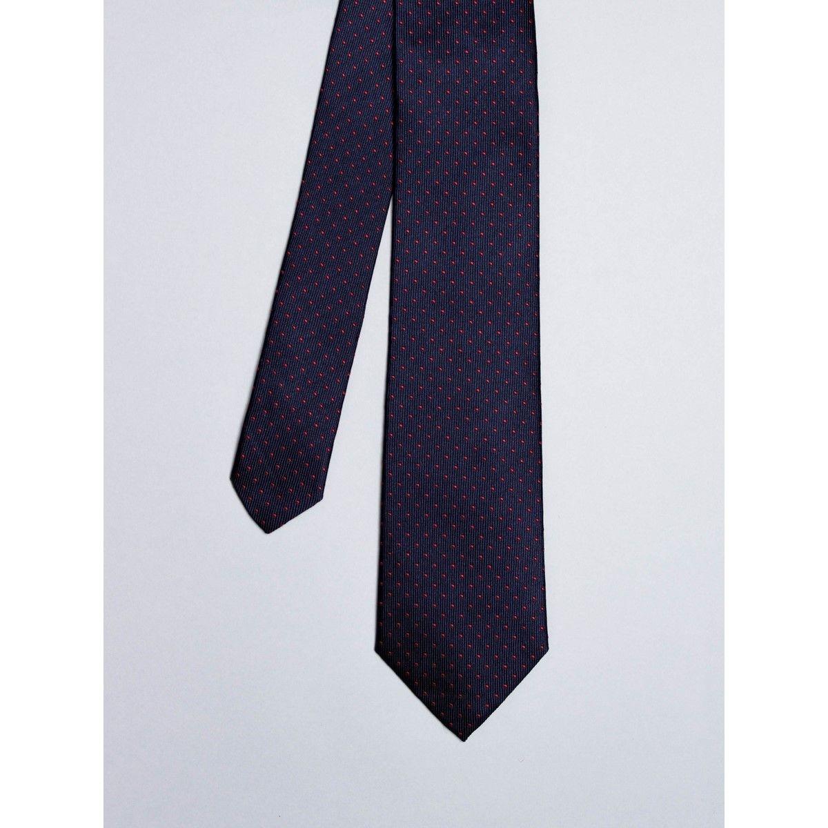 Cravate bleu marine avec micro pois rouges