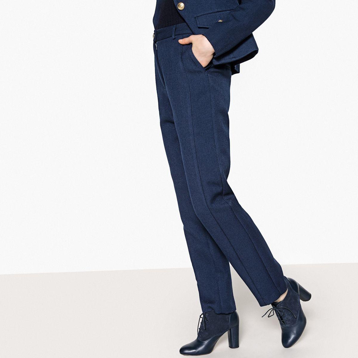 Pantalon droit coton/laine, découpe côté