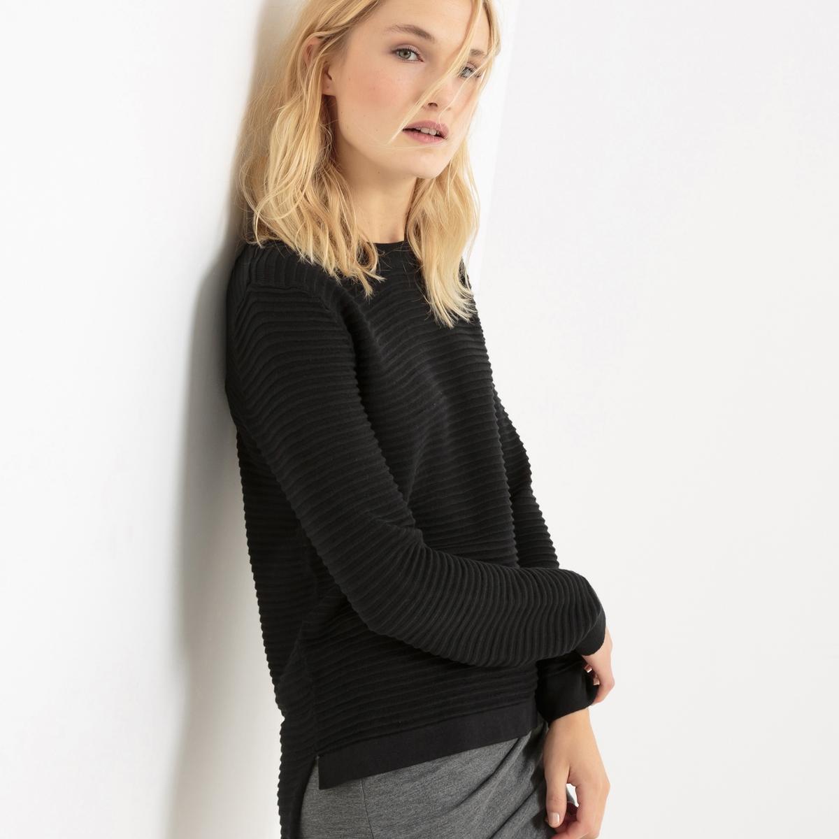 Пуловер с длинными рукавамиМатериал : 50% акрила, 50% хлопка Длина рукава : Длинные рукава Форма воротника : Круглый вырез Покрой пуловера : Стандартный Рисунок : Однотонная модель<br><br>Цвет: черный<br>Размер: S