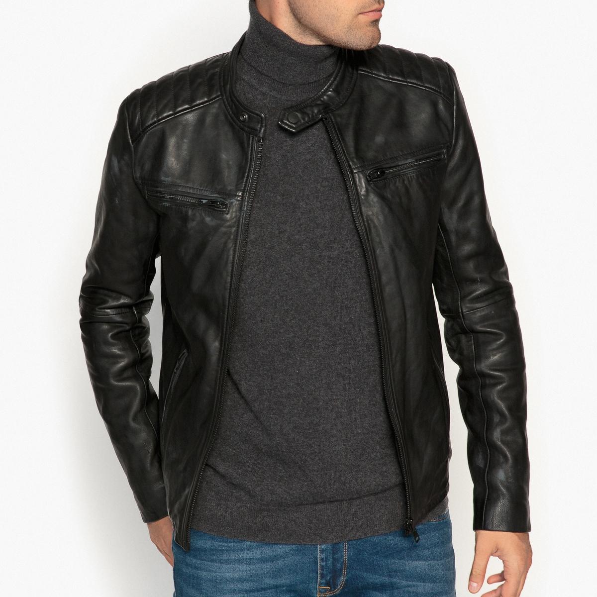 Блузон кожаный в байкерском стиле блузон в байкерском стиле под кожу