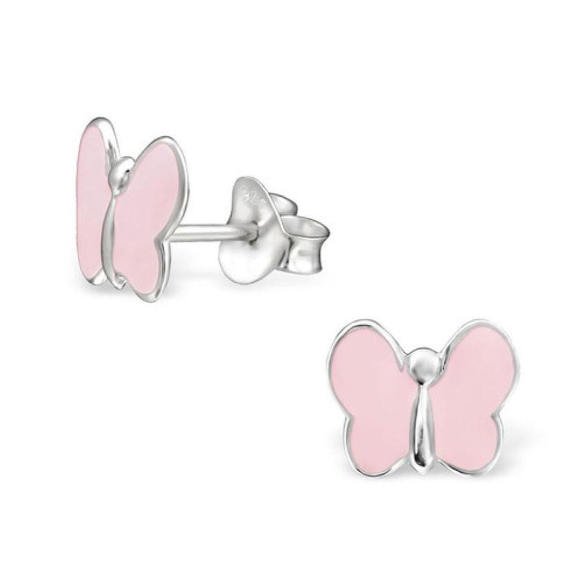 Boucles d'oreilles Papillon Rose Argent 925