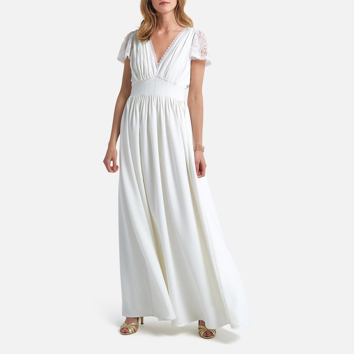 Платье LaRedoute Невесты длинное короткие кружевные рукава 34 (FR) - 40 (RUS) белый