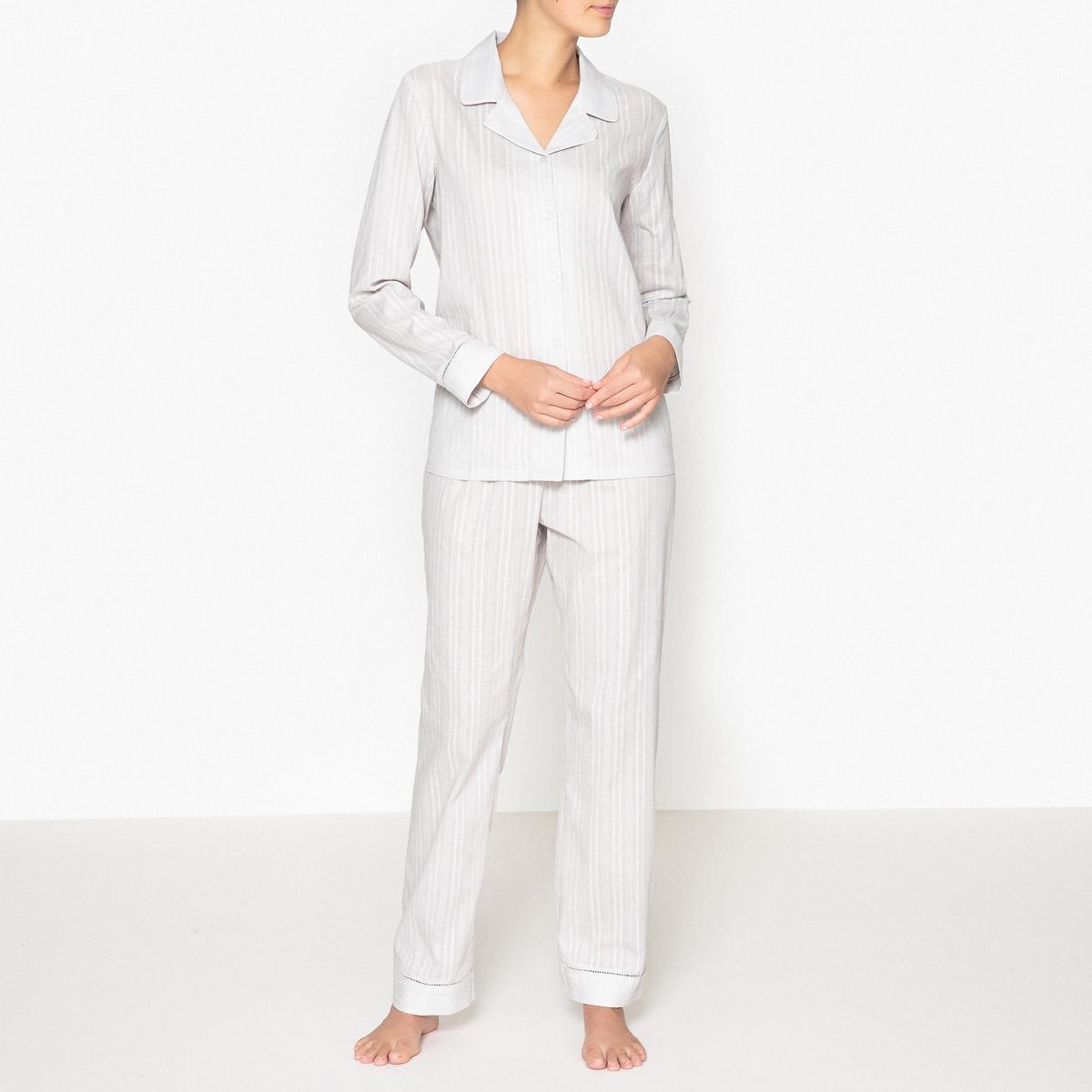 Пижама из 2 предметов в винтажном стилеОписание:Красивая пижама в полоску в винтажном стиле. Комфортная, стильная и очаровательная пижама.  Состав и описаниеПижама из 2 предметов.Прямой покрой, брюки с эластичным поясом и карманами.Материал : 100% хлопок. Длина: Верх : 68 см. По внутреннему шву: 76 смУход :Машинная стирка при 30 °С с вещами схожих цветов.Стирка и глажка с изнаночной стороны.Машинная сушка запрещена.<br><br>Цвет: светло-серый в полоску<br>Размер: 38 (FR) - 44 (RUS)