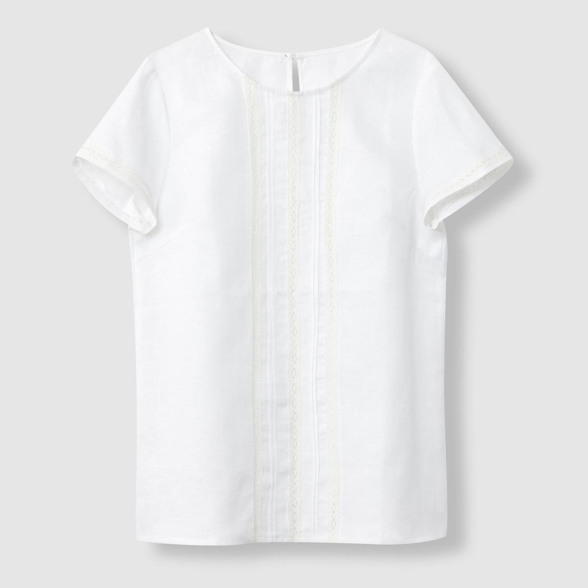 Блузка из хлопка и льна - R essentielСостав и описание:  Материал: хлопок и лен.  Марка: R essentiel.<br><br>Цвет: белый<br>Размер: 48 (FR) - 54 (RUS)