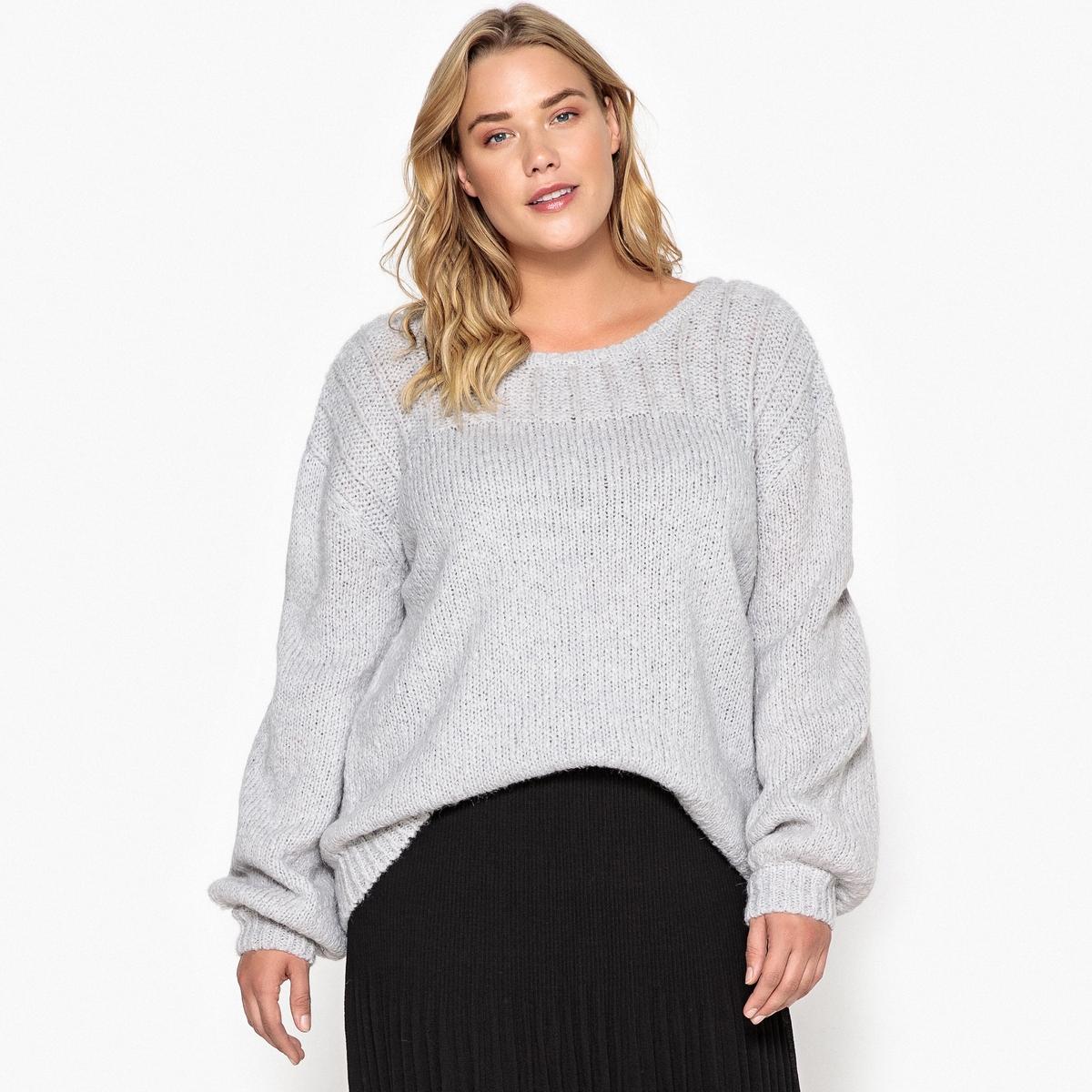Пуловер La Redoute С круглым вырезом из плотного трикотажа 50/52 (FR) - 56/58 (RUS) серый пуловер la redoute с круглым вырезом из шерсти мериноса pascal 3xl черный