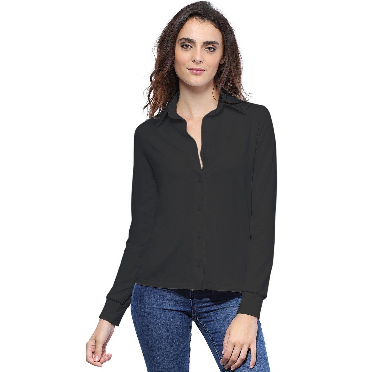 Chemise coupe droite manches longues avec poignet en maille modal SELEN