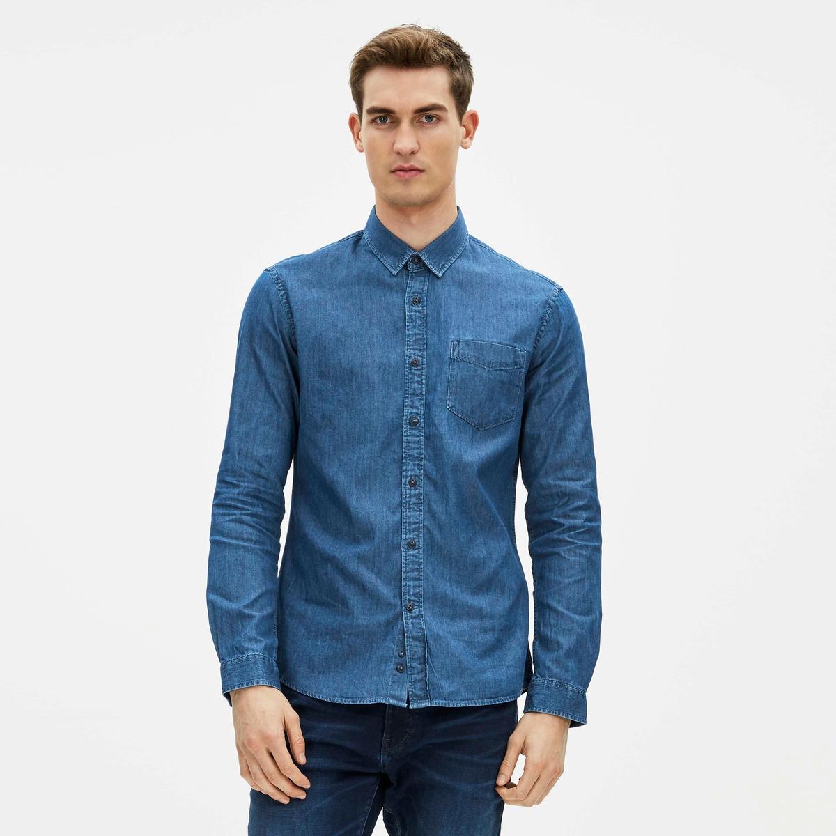 Рубашка приталенного покроя из денима, 100% хлопок, GANRIQUE