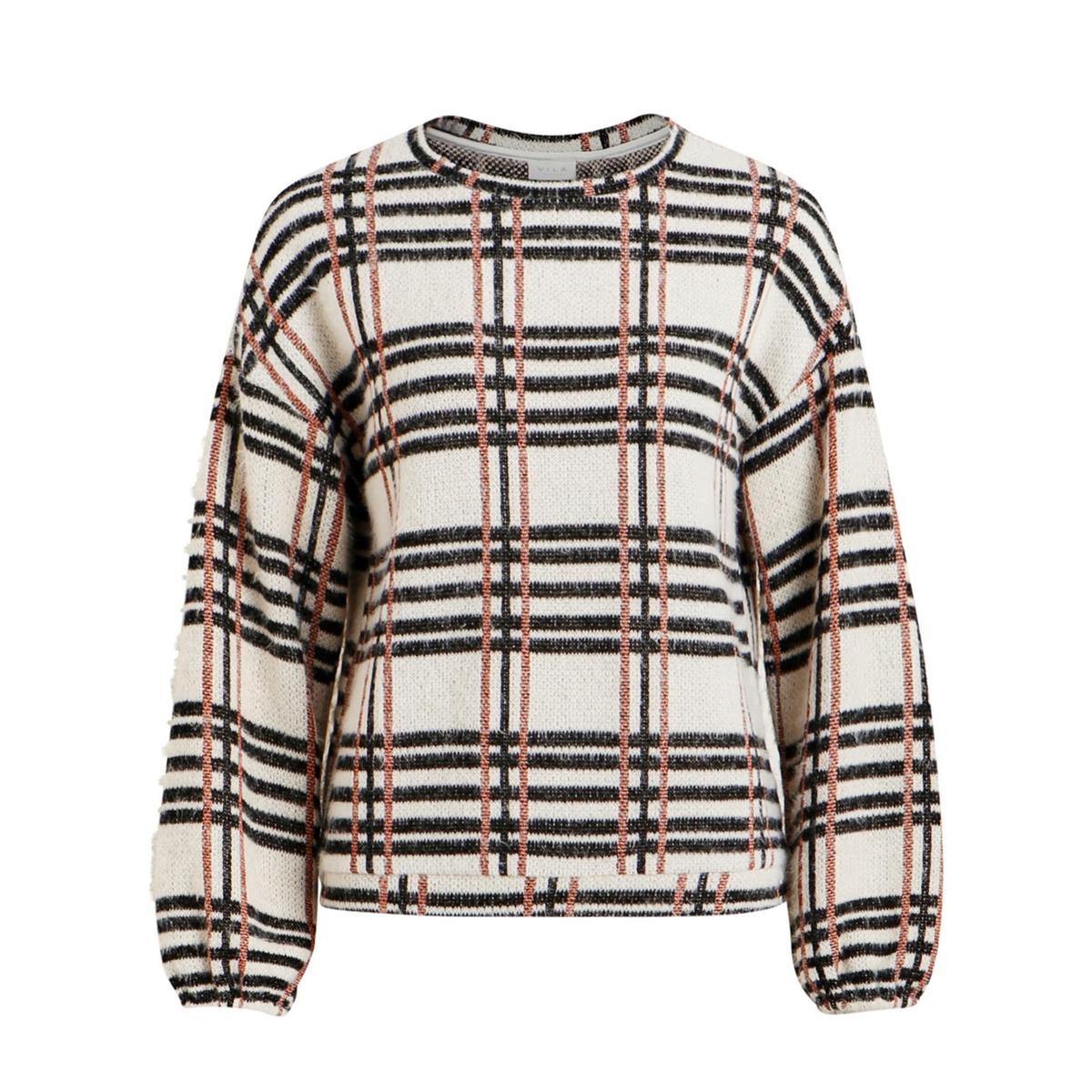 Пуловер в клетку с круглым вырезом и длинными рукавами цена 2017