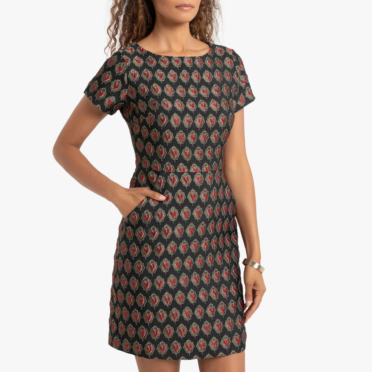 Платье La Redoute Короткое приталенное с рисунком и короткими рукавами XS черный комбинезон la redoute с короткими рукавами xs розовый