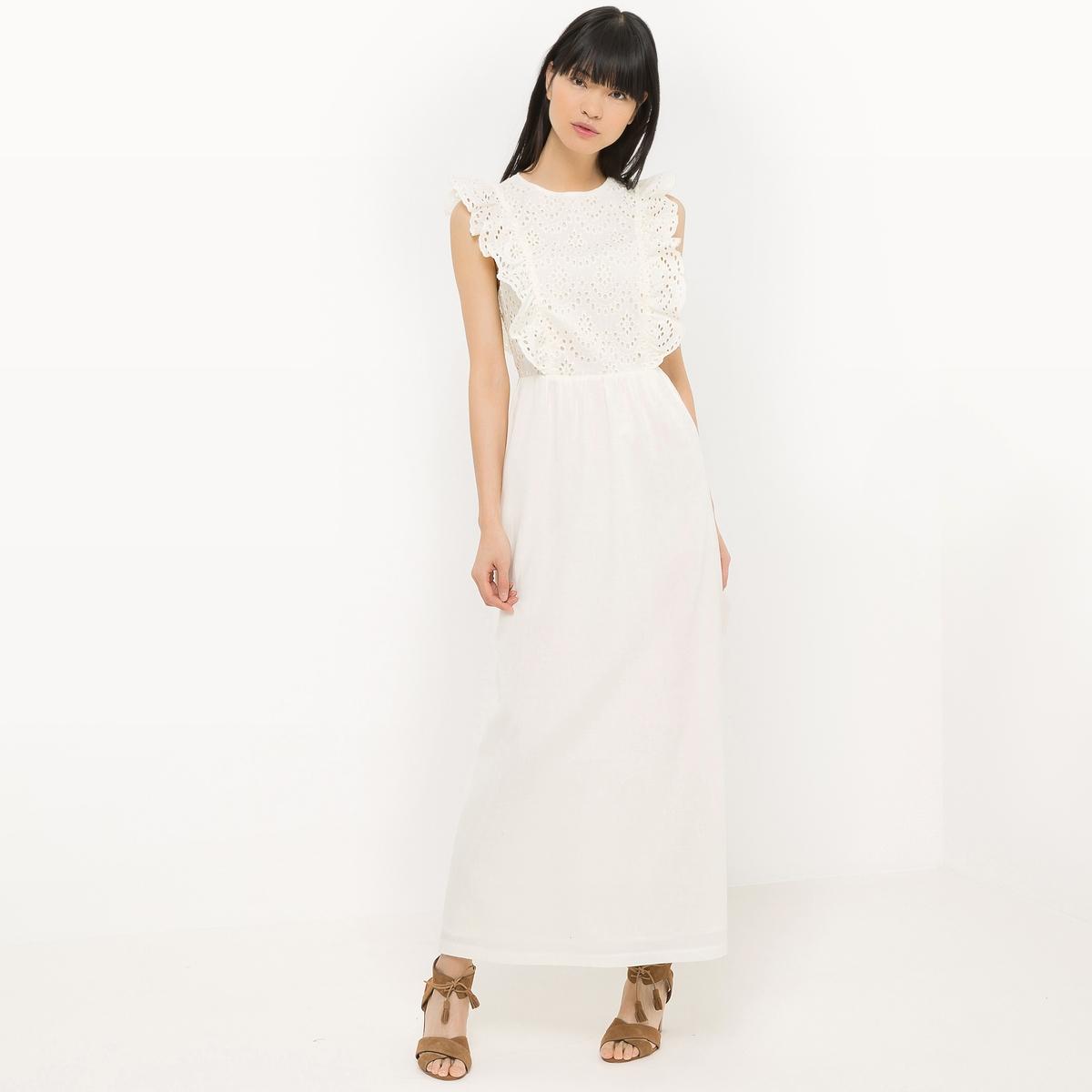 Платье длинное из двух материалов
