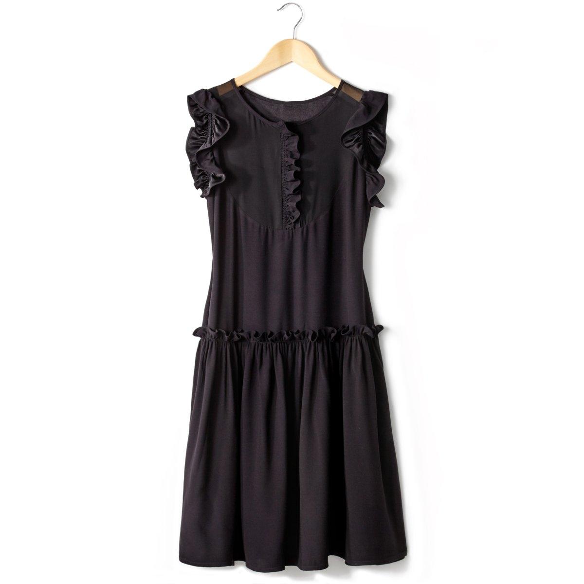 Платье со вставками из вуали Soft GreyМаленькое черное платье Soft Grey. Глубокий вырез спереди, со вставками из прозрачной вуали, 100% полиэстера. Круглый вырез, рукава с воланами. Низ с воланами.  100% полиэстера.      Длина 91 см.<br><br>Цвет: черный<br>Размер: 36 (FR) - 42 (RUS)