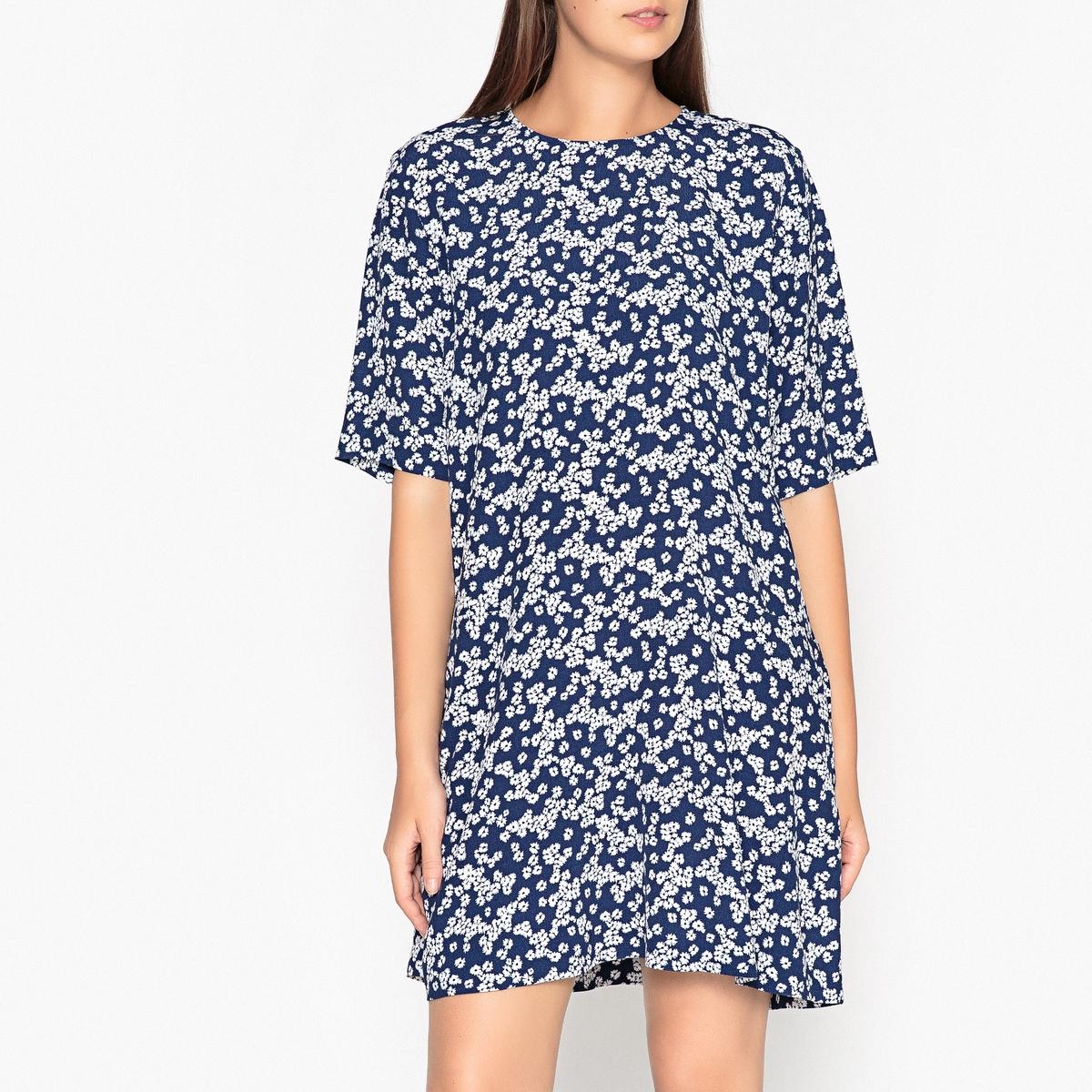 Платье короткое расклешенное с короткими рукавами