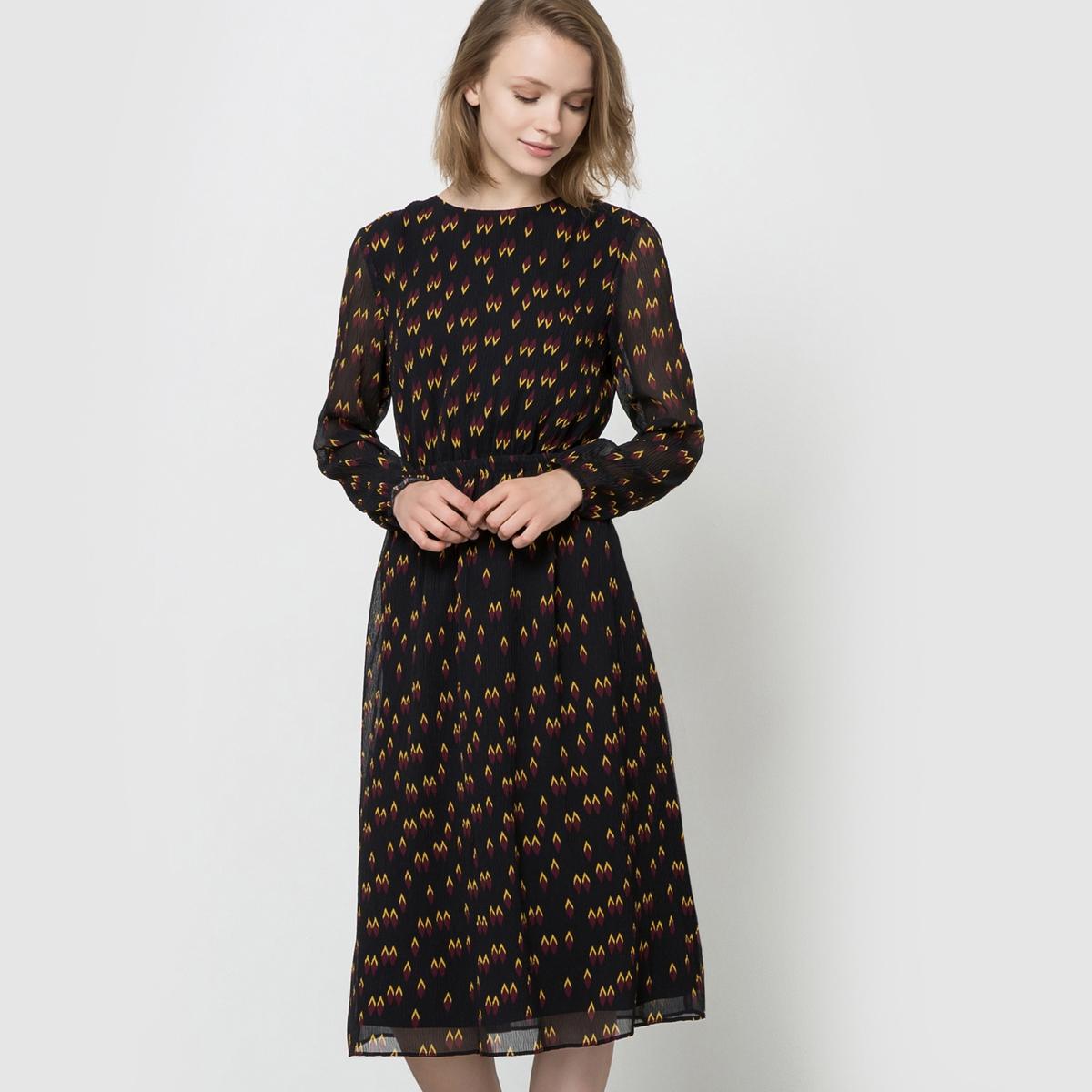 Платье-миди из вуали с длинными рукавами и рисункомСостав и описаниеМарка : SEE U SOONМатериалы : 100% полиэстера. Подкладка 100% полиэстера<br><br>Цвет: черный наб. рисунок