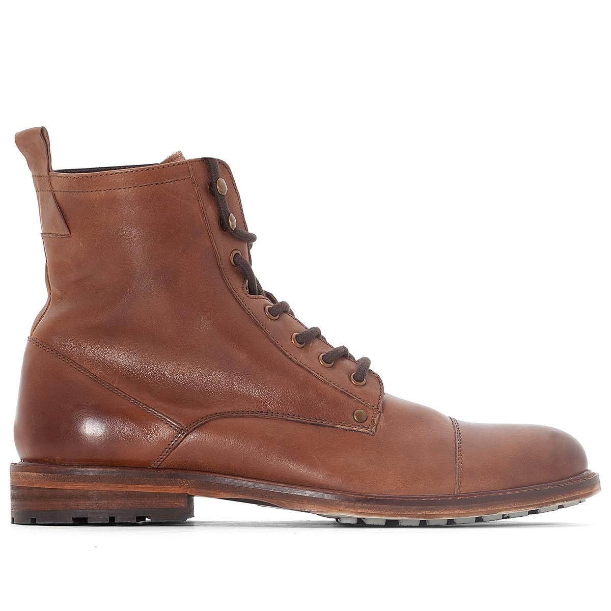 Ботинки кожаныеДетали •  Высота каблука : 0 см •  Застежка : без застежки •  Круглый мысок •  Велюровая отделка, нубукСостав и уход •  Верх 100% кожа •  Подкладка 100% текстиль<br><br>Цвет: каштановый<br>Размер: 42