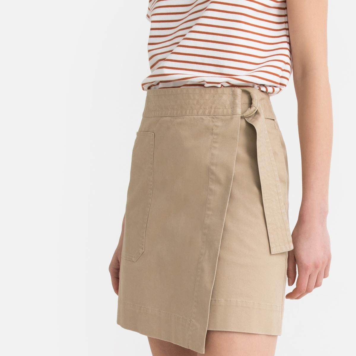 Юбка La Redoute С запахом короткая 46 (FR) - 52 (RUS) бежевый юбка с запахом на пуговицах