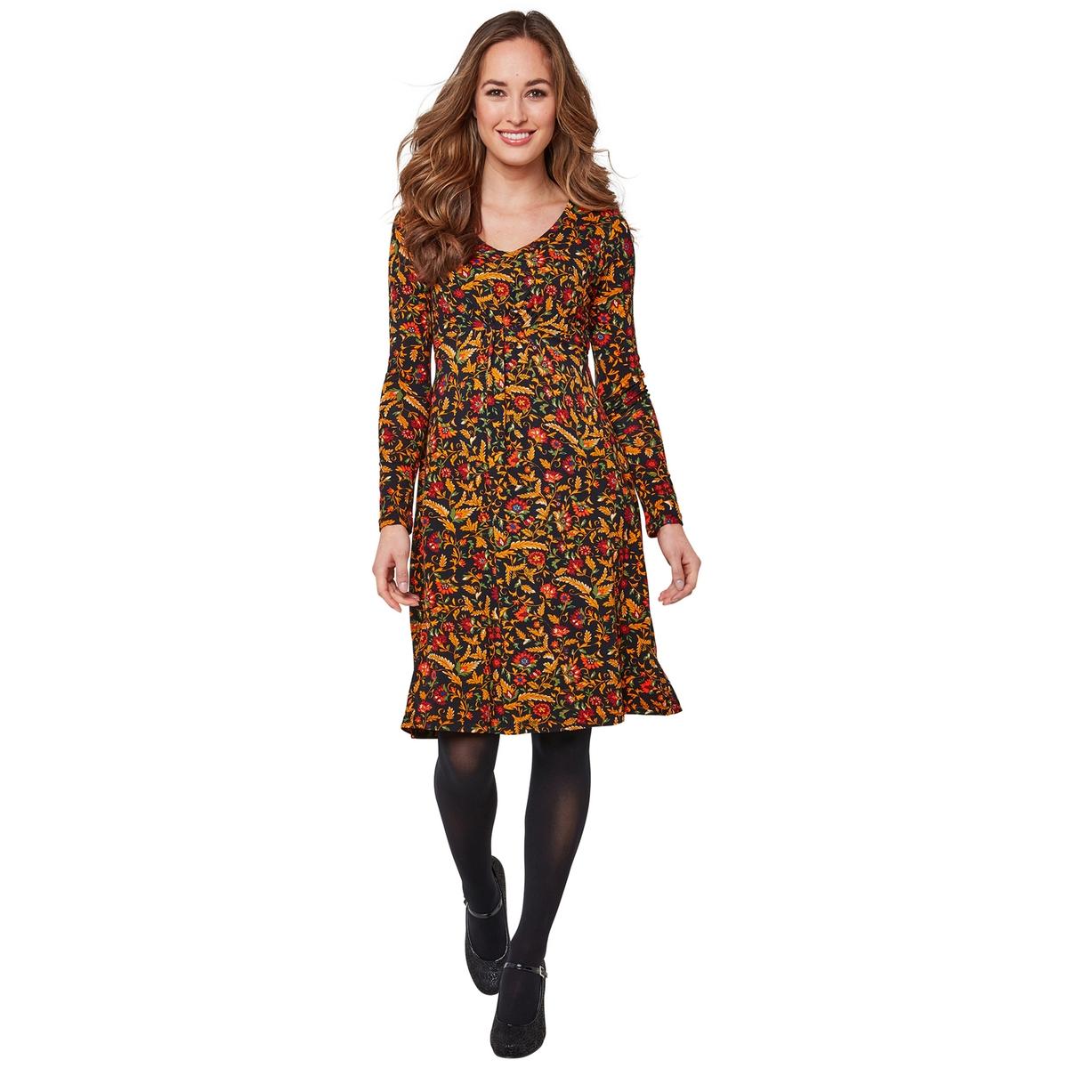 цена Платье La Redoute Длиной до колен расклешенное с цветочным рисунком и V-образным вырезом 42 (FR) - 48 (RUS) черный онлайн в 2017 году