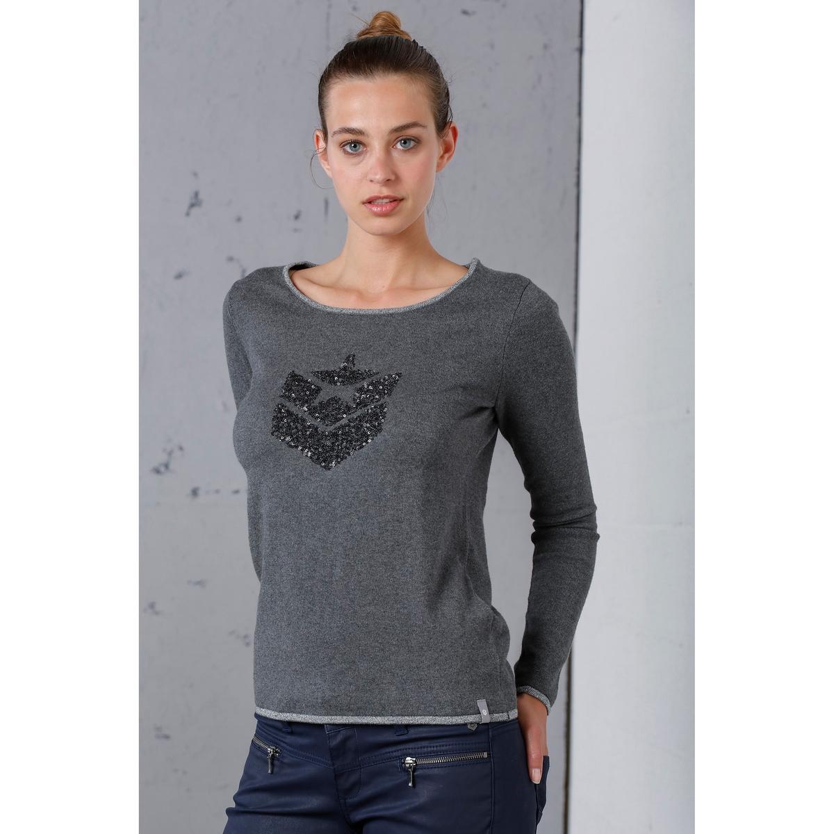 Пуловер кашемировый с круглым вырезом и с логотипом из блесток спереди пуловер с круглым вырезом из хлопка и льна