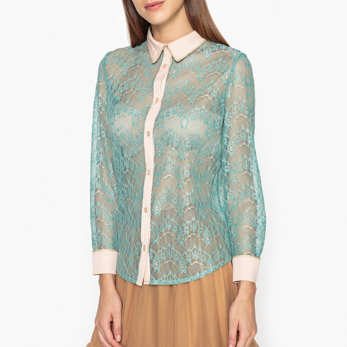Рубашка из двухцветного кружеваСостав и описание :  Основной материал    50% полиамида, 50% вискозы   Марка                        SISTER JANE<br><br>Цвет: бирюзовый