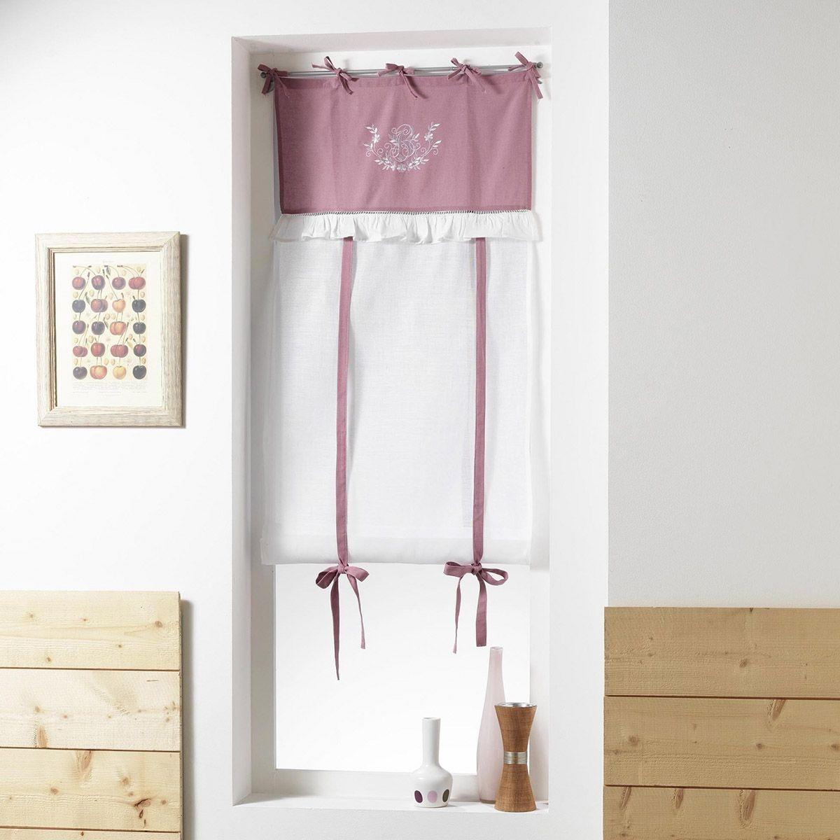 Store droit prêt-à-poser 60x150 cm Brodé Bonheur rose blanc