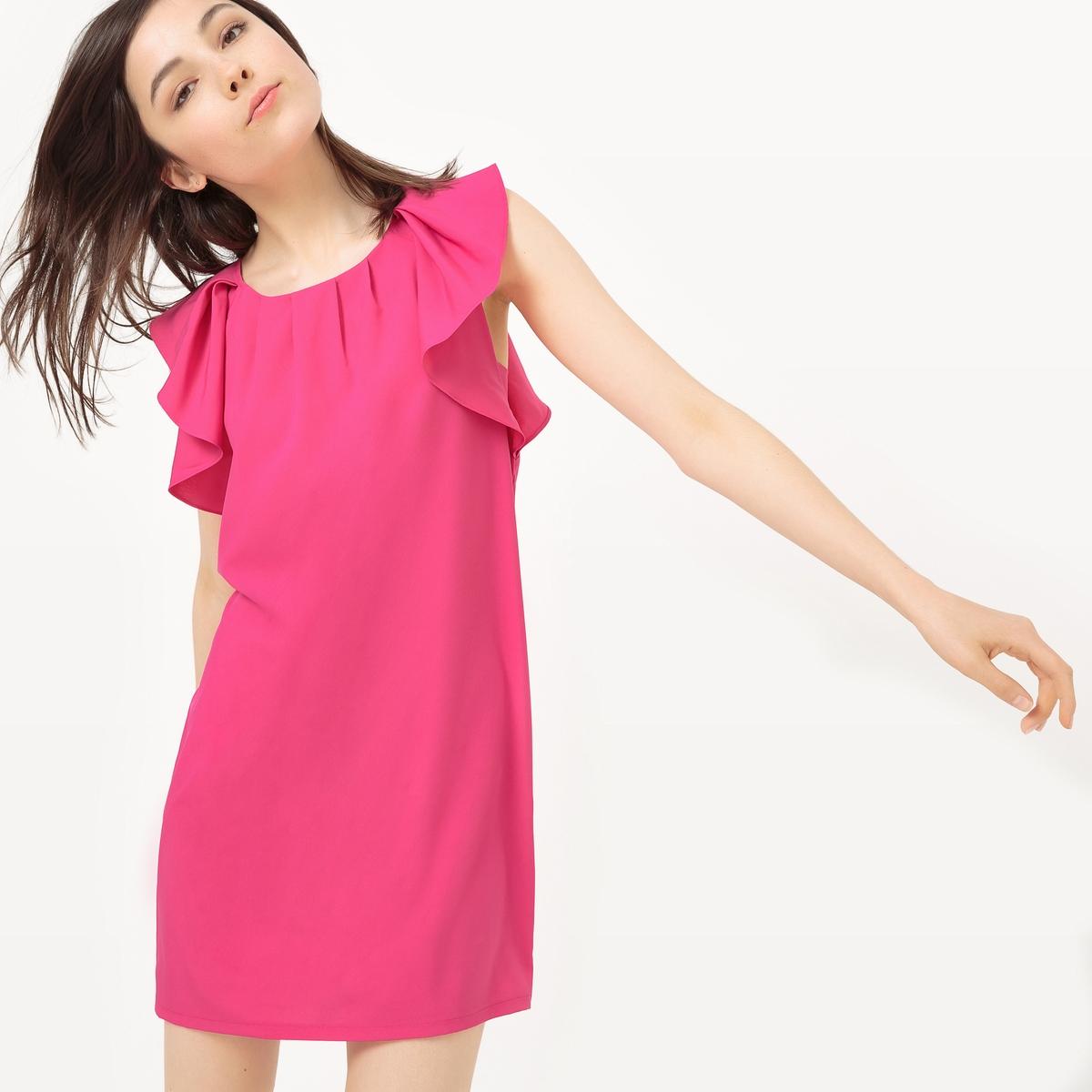 Платье прямое без рукавов, с воланамиМатериал : 5% эластана, 95% полиэстера Длина рукава : без рукавов  Форма воротника : Круглый вырез Покрой платья : платье прямого покроя  Рисунок : Однотонная модель   Длина платья : короткое.<br><br>Цвет: розовый<br>Размер: L