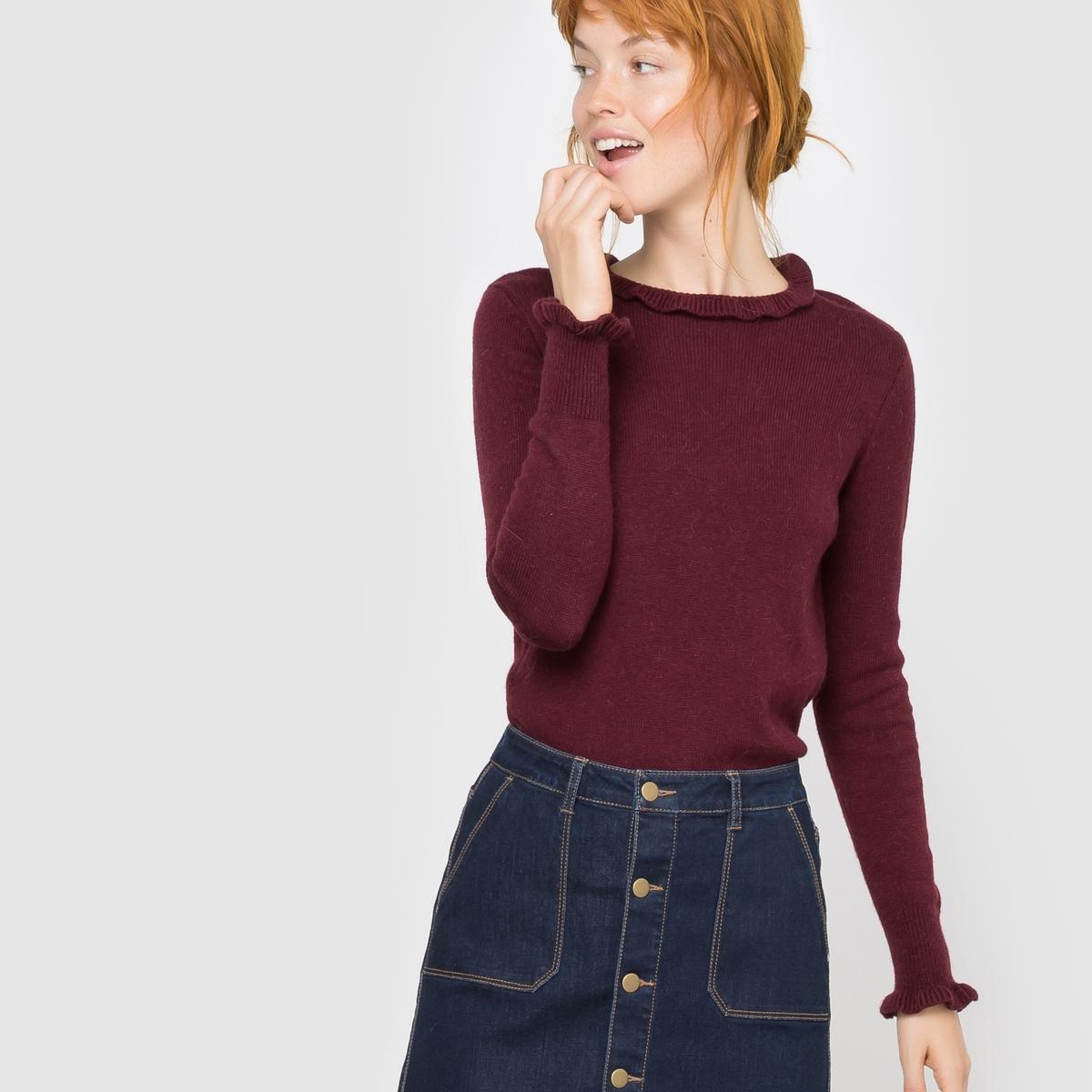 Пуловер с небольшим воротником