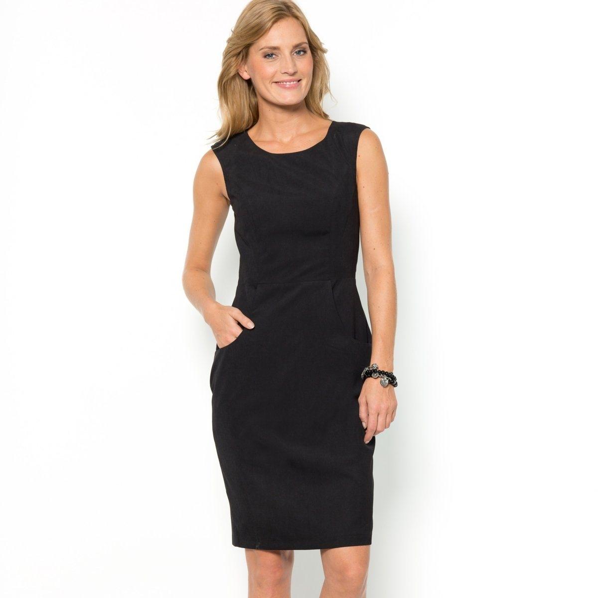 Платье ANNE WEYBURNЭлегантный покрой без рукавов. Закругленные карманы. Длина 95 см. Подкладка из полиэстера. Бархатистая ткань, 90% полиэстера, 10% полиамида.<br><br>Цвет: черный<br>Размер: 40 (FR) - 46 (RUS).48 (FR) - 54 (RUS)