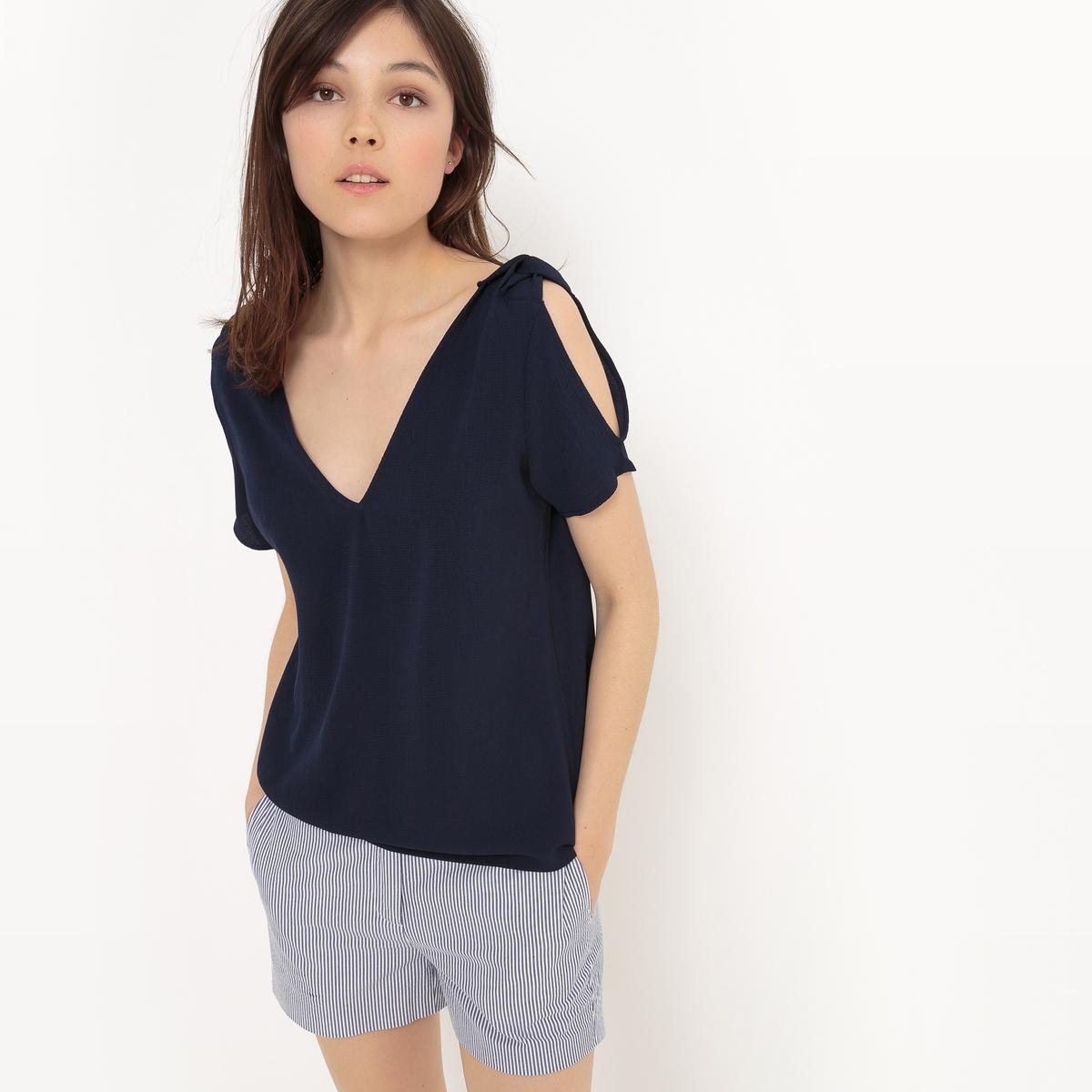 Блузка однотонная с V-образным вырезом и короткими рукавами