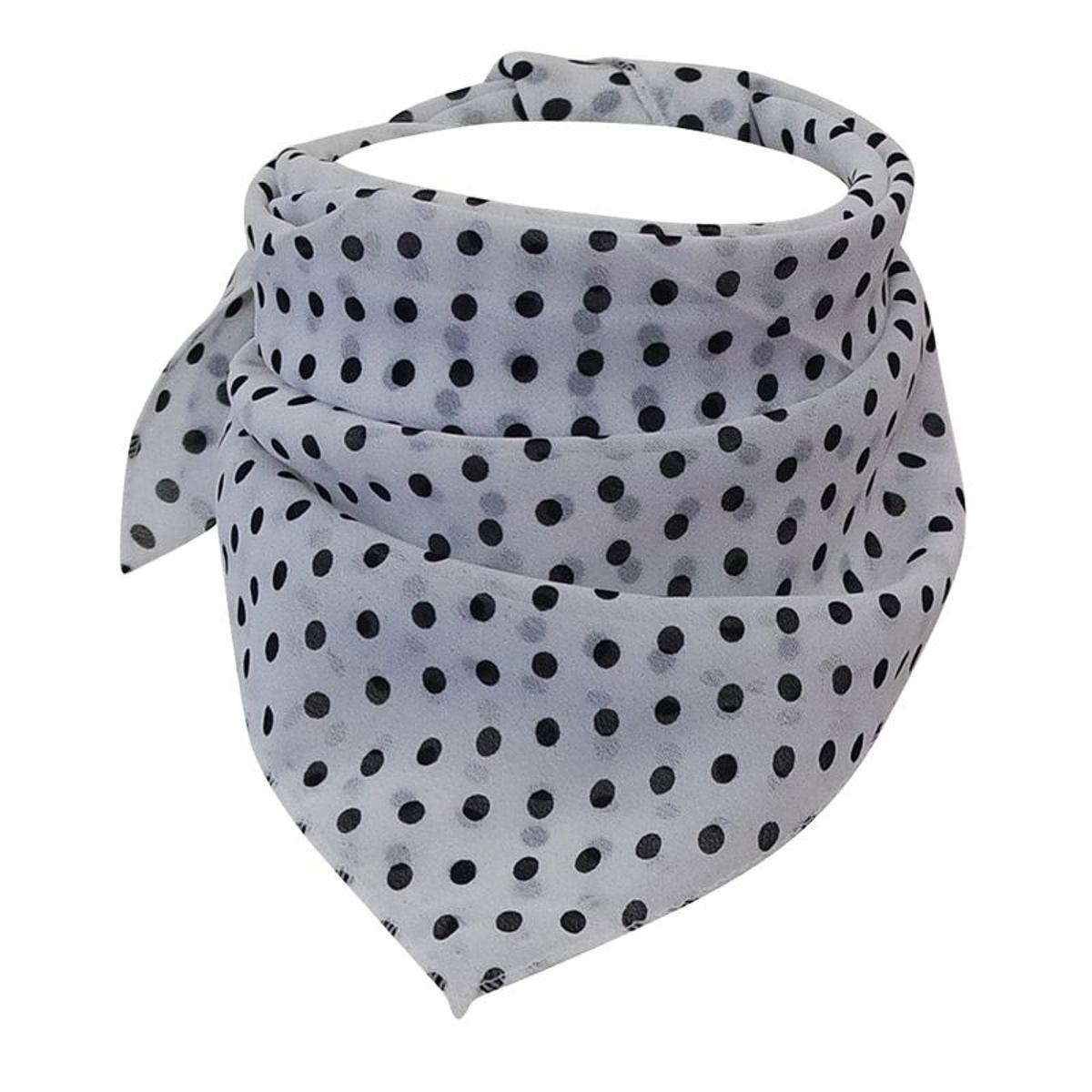 Foulard carré blanc pois noirs