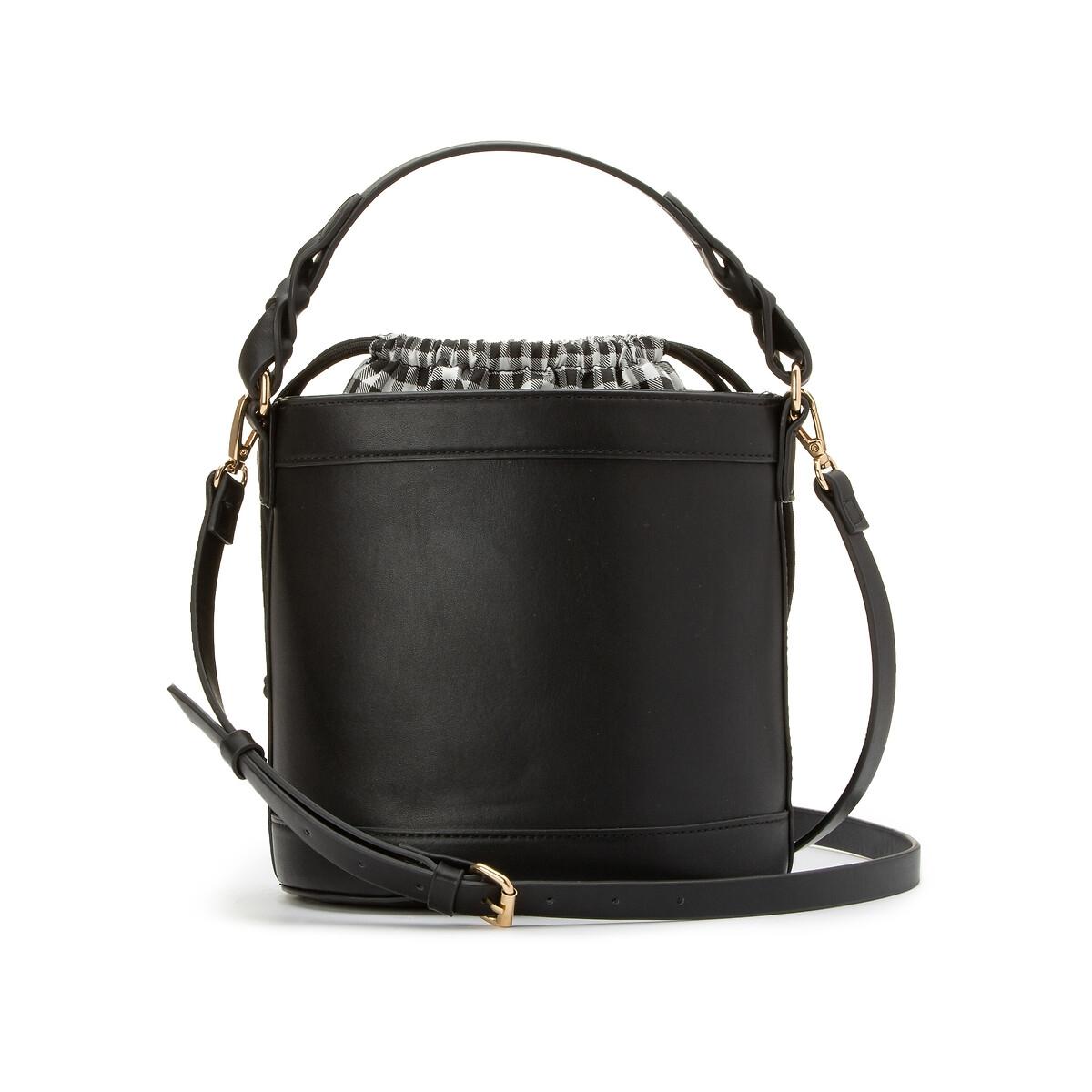 Bolso bucket, con interior de tejido vichy