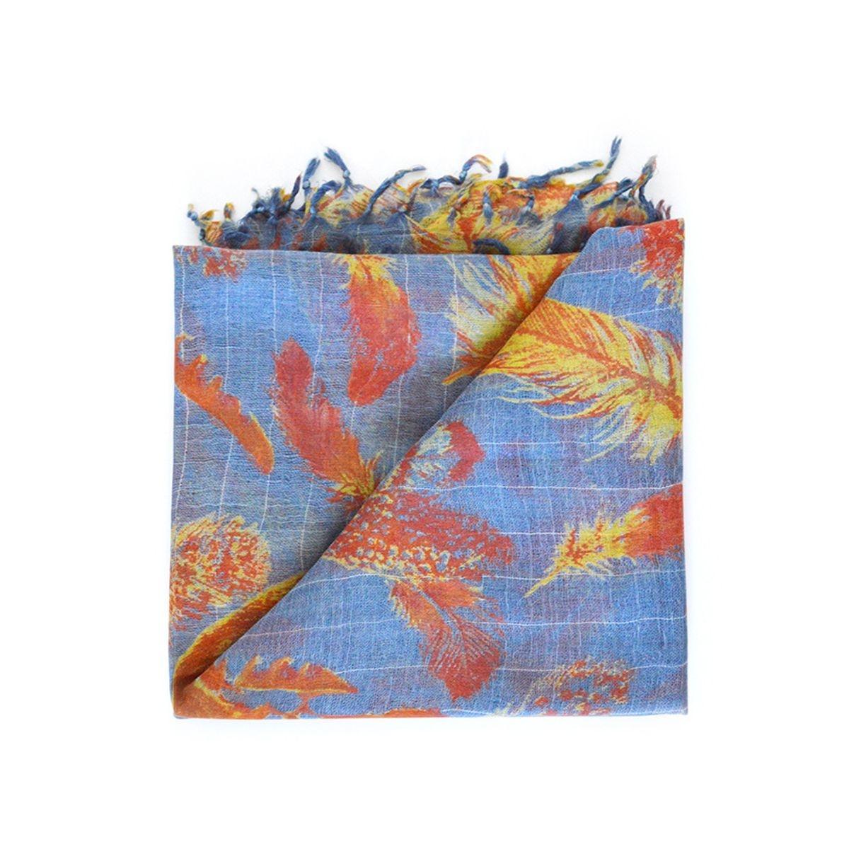 Foulard  en laine avec imprimé à plumes