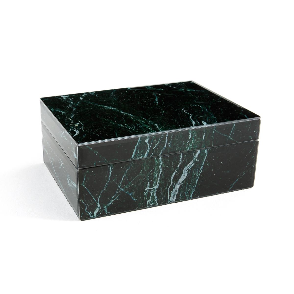 Коробка из стекла с мраморным принтом, MartagonКоробка Martagon. Будет незаменима на письменном или журнальном столе для размещения мелких предметов . Из граненного стекла  3 мм толщиной с мраморным зеленым принтом  . Корпус-МДФ. Внутри и снизу - отделка черным фетрином  . С крышкой . Размеры : L19 x H7,7 x P14 см .<br><br>Цвет: Зеленый мрамор
