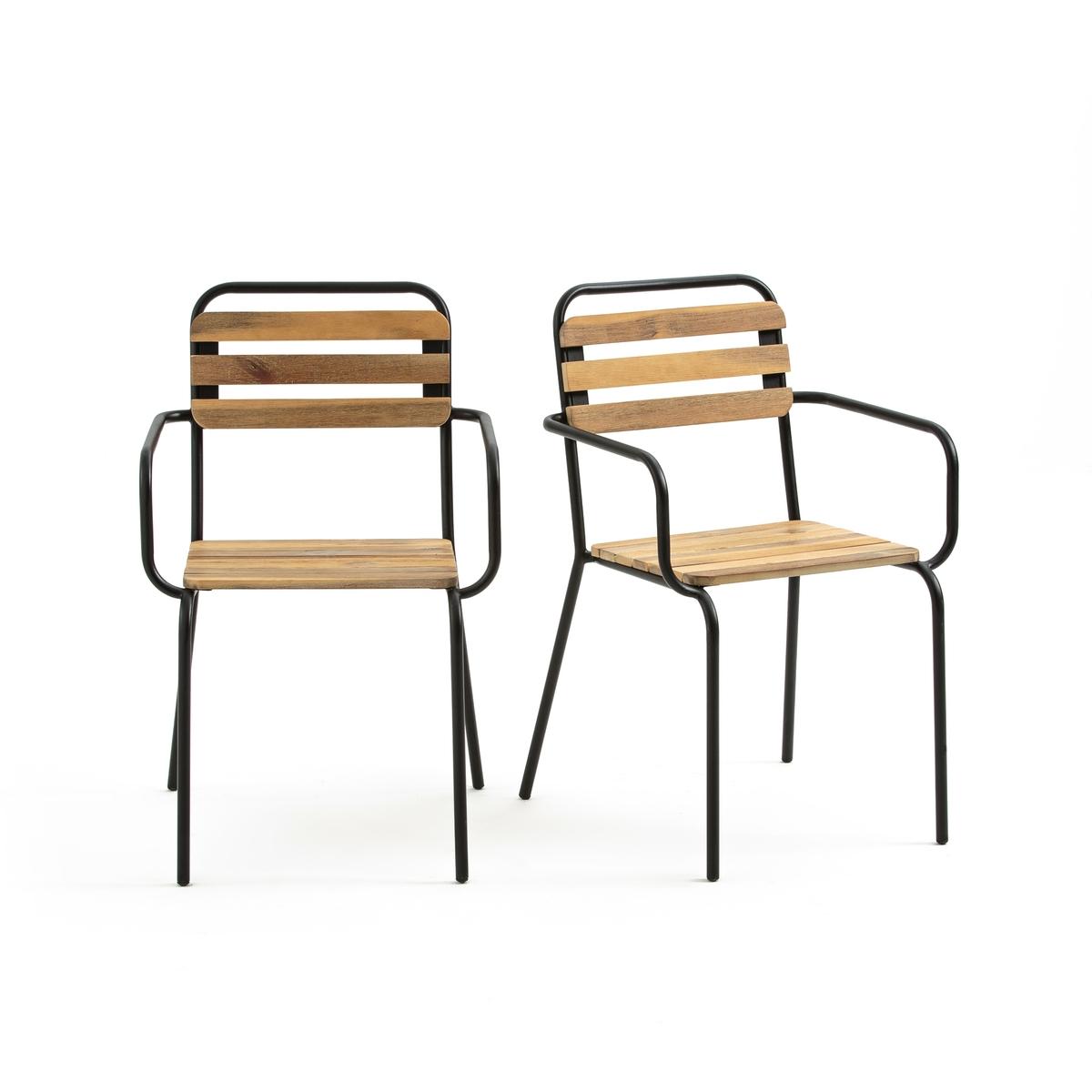 Комплект из 2 кресел для сада Dexoto2 кресла для сада Dexoto. Сидень и спинка из реек на каркасе из металла, окрашенного черной краской, напоминающей школьные кресла, для винтажной нотки для вашего сада.       Характеристики комплекта из 2 кресел для сада Dexoto :   Каркас из металла, покрытого эпоксидной краской   Рейки сиденья и спинки из отбеленной акации, покрытие нитролаком      Качество   Акация - дерево, обладающие хорошими механическими свойствами такими, как прочность (хорошая стойкость к насекомым и грибкам) и устойчивость (сочетание сухих и влажных периодов).      Размеры комплекта из 2 кресел для сада Dexoto :   Ширина : 54 см   Высота : 84 см   Глубина : 57 см   Сиденье : Ш.41,5 x В.45,5 x Г.36 см      Размеры и вес упаковки :      1 упаковка   56 x 97 x 64 см   12,5 кг    Доставка :<br><br>Цвет: дерево/металл