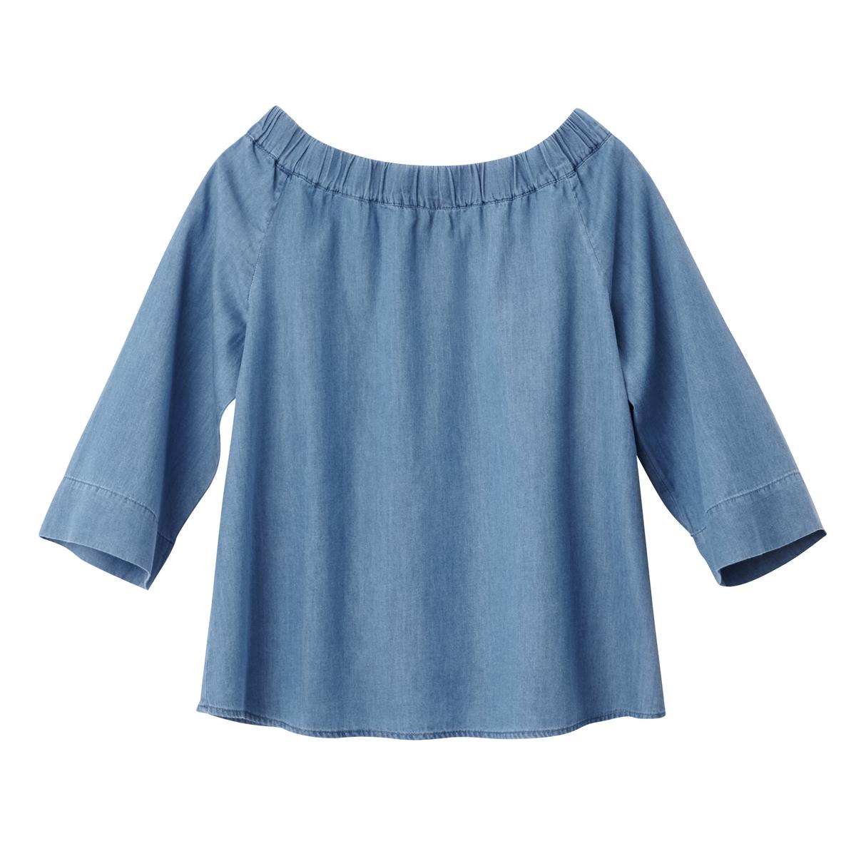 Блузка из денима с открытыми плечами tom tailor блузка tom tailor 203140400752647