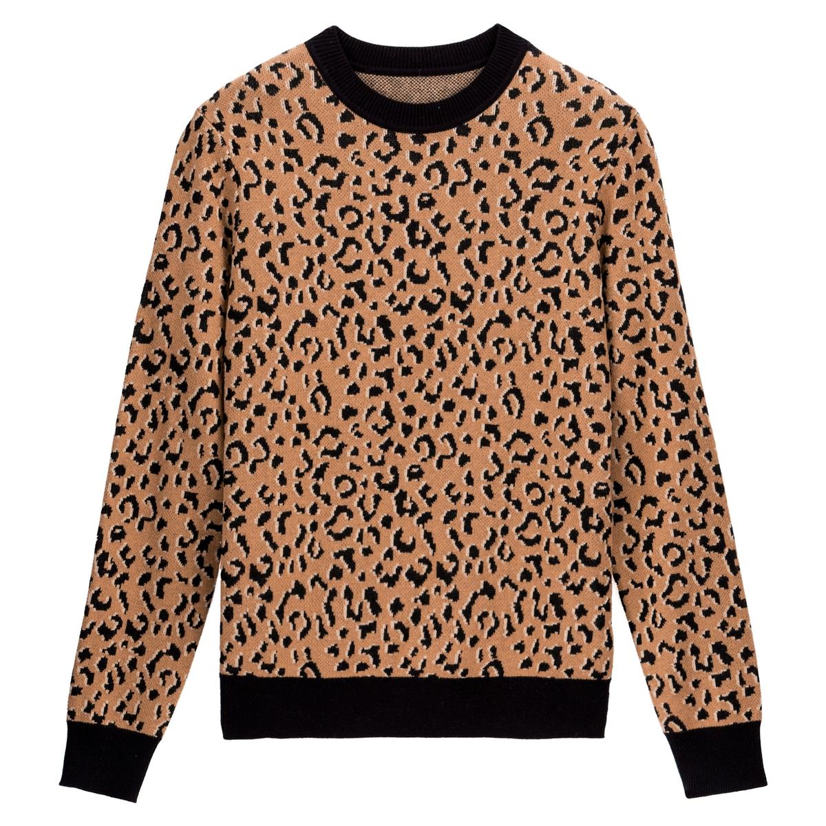 Jersey con cuello redondo de punto fino jacquard leopardo