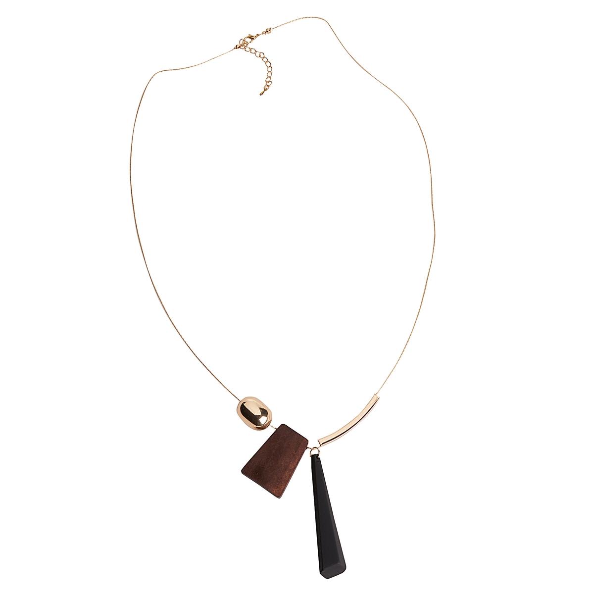 Collier, catena e ciondolo metallo e legno