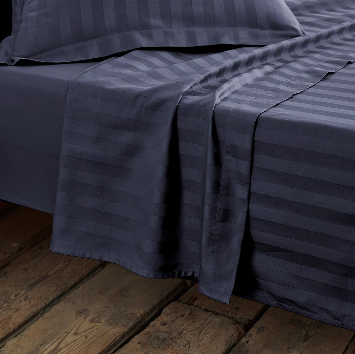 Простыня LaRedoute Из хлопкового сатина в полоску 180 x 290 см синий пододеяльник laredoute из 100 хлопкового сатина в полоску 240 x 220 см зеленый