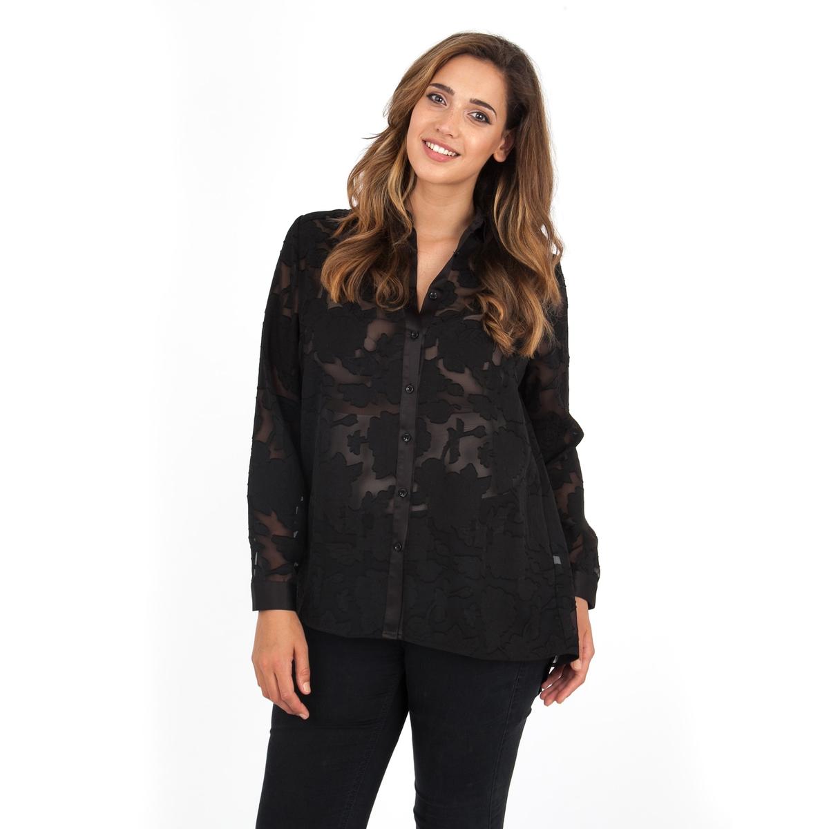 БлузкаБлузка с длинными рукавами LOVEDROBE . Красивая прозрачная блузка, которую можно носить с топом снизу . Рубашечный воротник. 100% полиэстер.<br><br>Цвет: черный