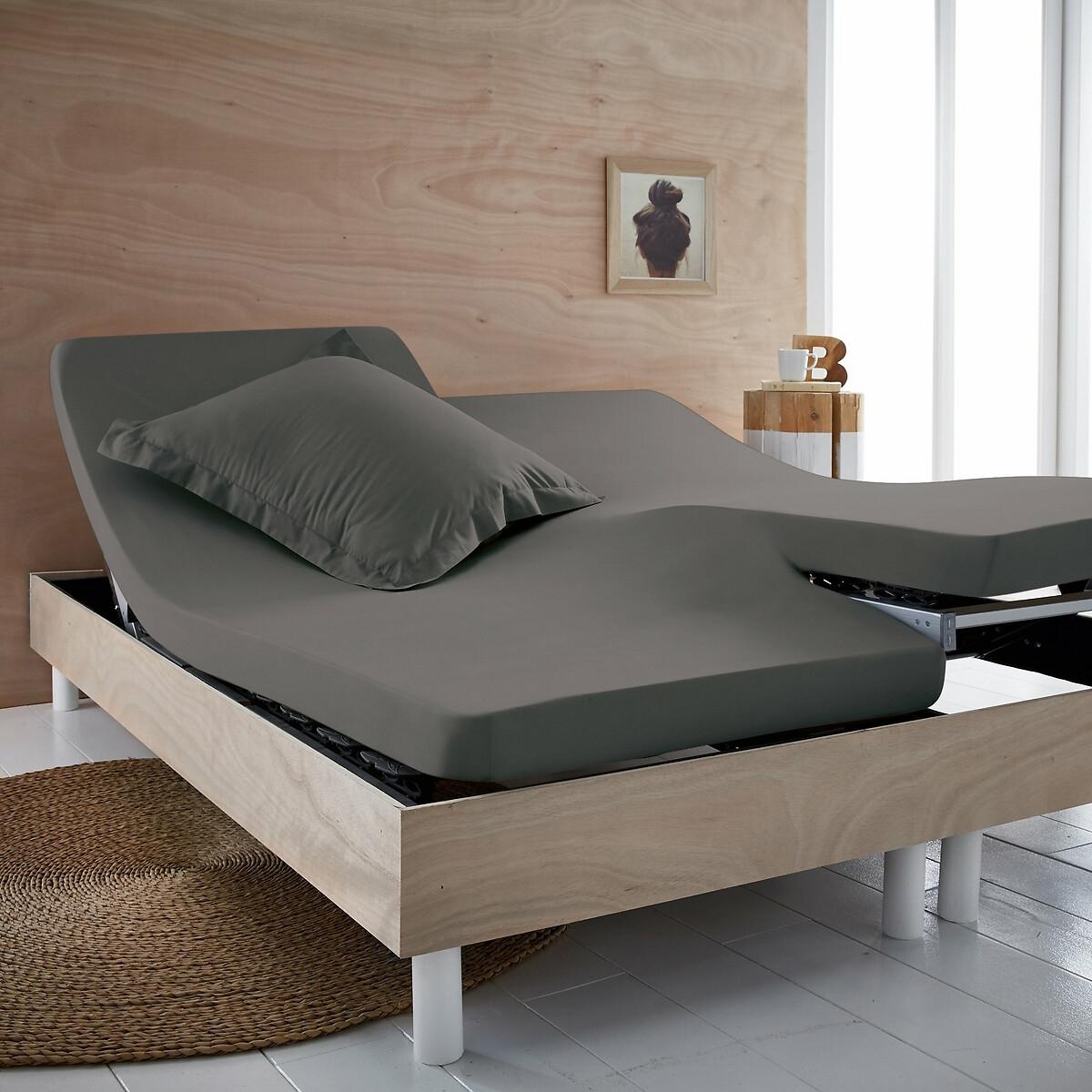 Простыня LaRedoute Натяжная однотонная из биохлопка для раскладной кровати Scenario 160 x 200 см серый
