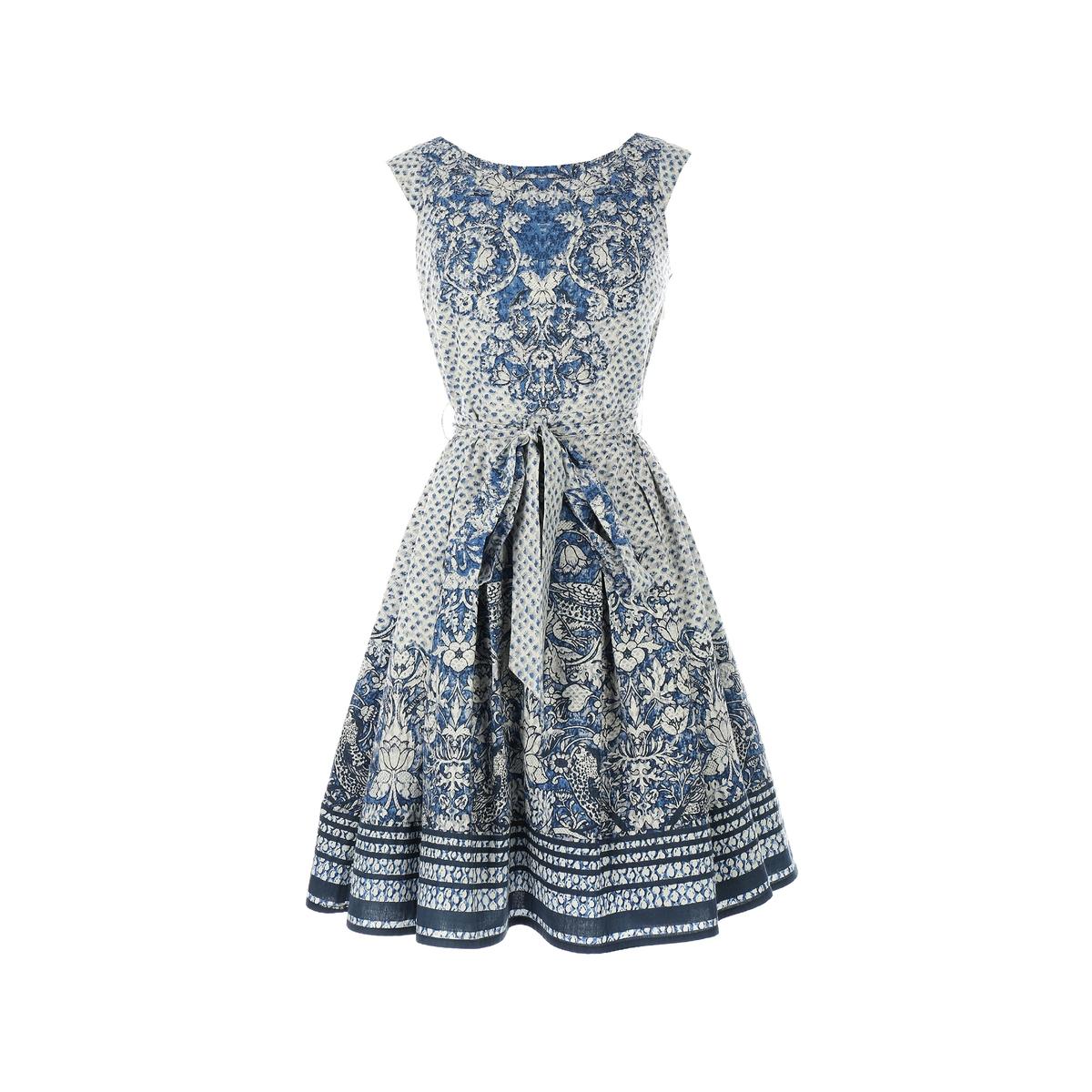 Платье короткое, без рукавовДетали •  Форма : прямая  •  короткое  •  Без рукавов    •   V-образный вырез •  Рисунок-принтСостав и уход •  100% хлопок •  Следуйте советам по уходу, указанным на этикетке<br><br>Цвет: наб. рисунок синий<br>Размер: S
