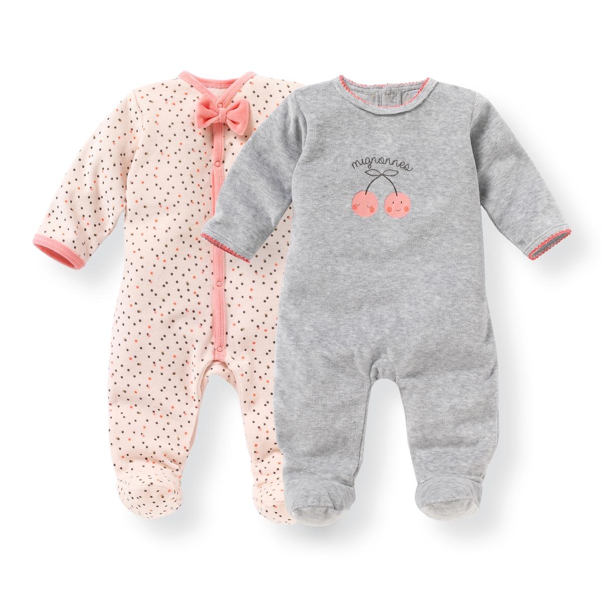 2 пижамы для новорожденных из велюра 0 мес-3 лет от La Redoute Collections