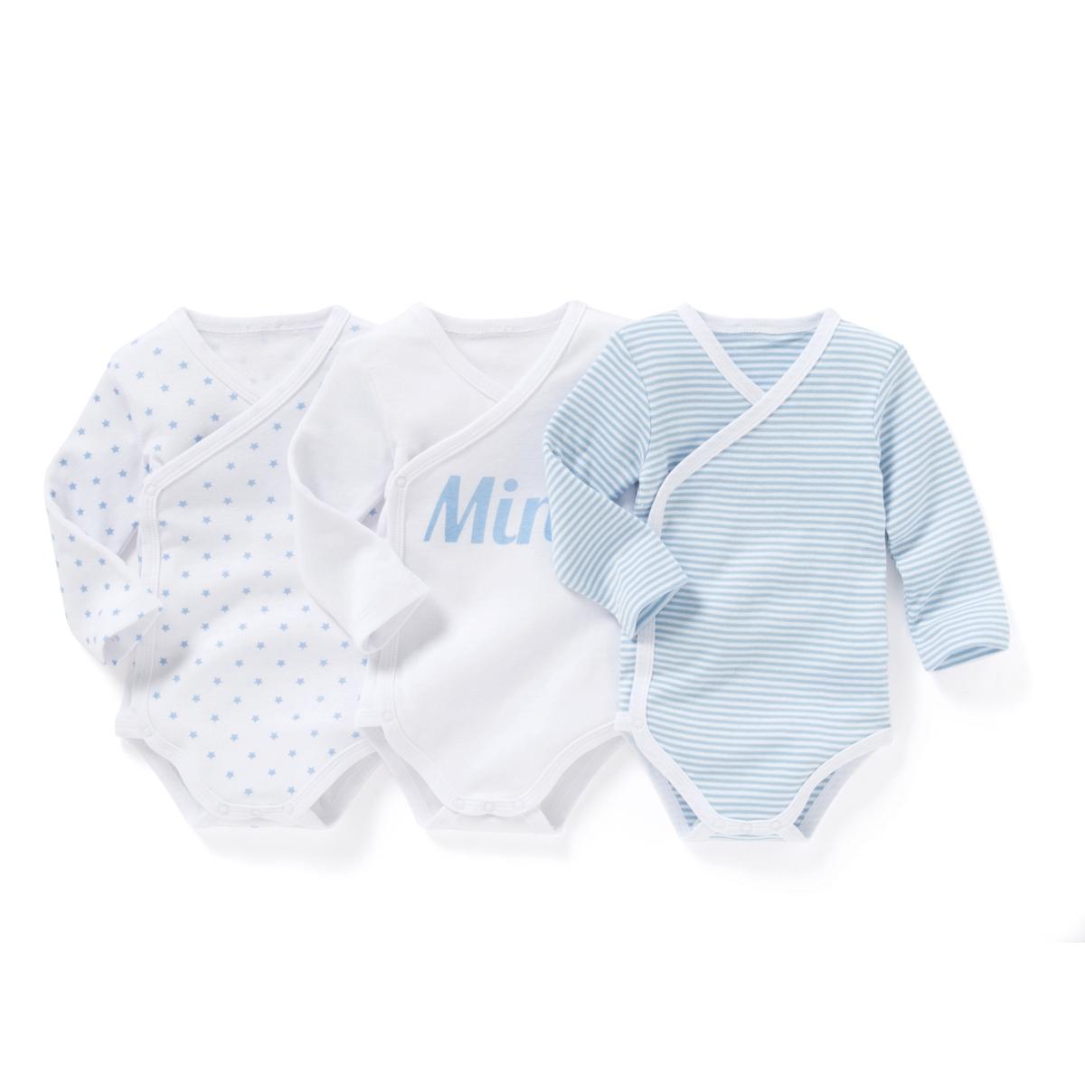 Комплект из хлопковых боди для малышейДетали  •  Рисунок-принт  •  Для новорожденных •  Длинные рукава •  ХлопокСостав и уход  •  100% хлопок •  Температура стирки 40° •  Сухая чистка и отбеливание запрещены   •  Машинная сушка на деликатном режиме •  Низкая температура глажки<br><br>Цвет: Белый + синяя полоска + синий рисунок<br>Размер: 18 мес. - 81 см.1 мес. - 54 см.1 год - 74 см.3 года - 94 см.2 года - 86 см.3 мес. - 60 см.9 мес. - 71 см