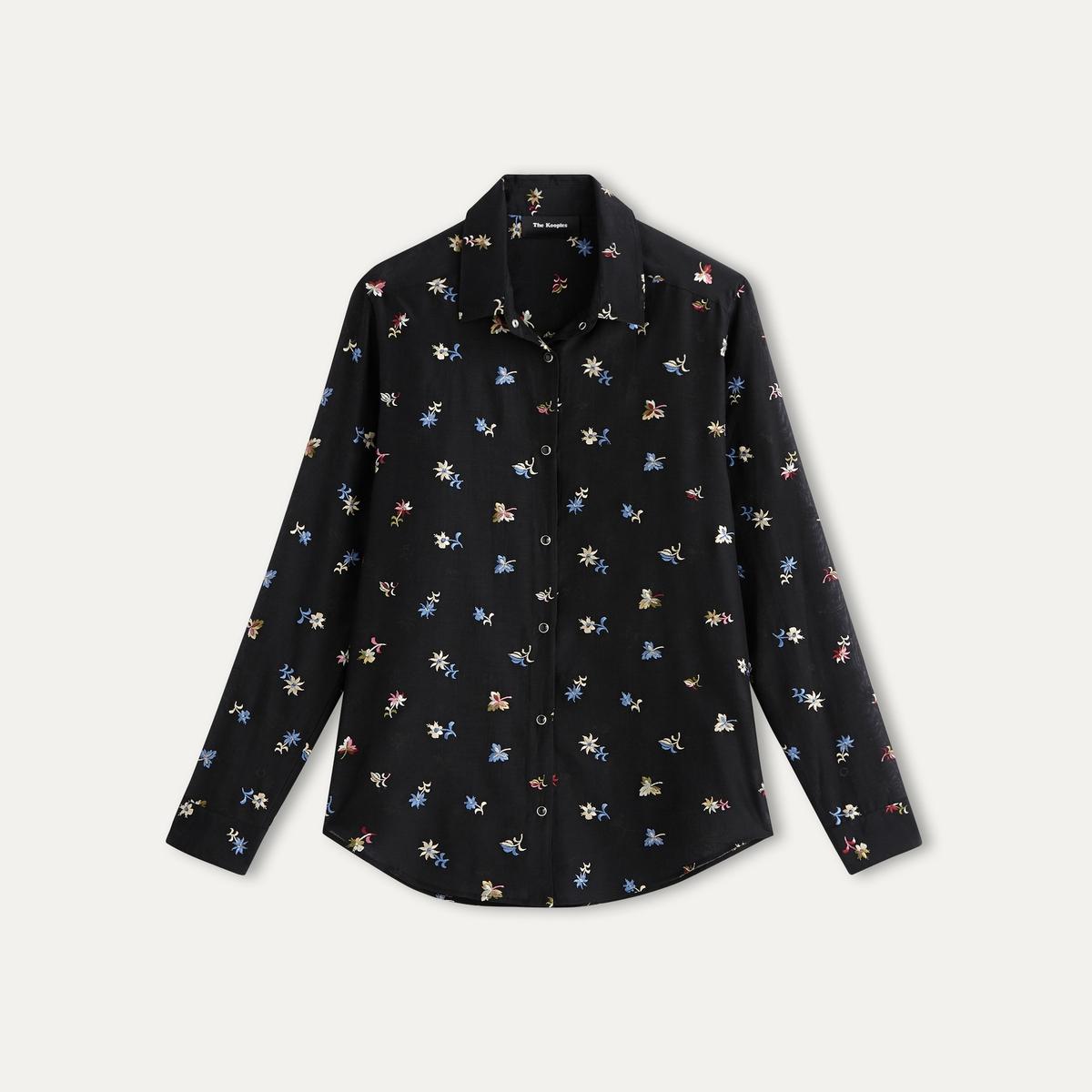 Рубашка с вышивкойРубашка THE KOOPLES - из смеси хлопка и шелка с цветочной вышивкой и бисером . Рубашечный воротник со свободными уголками    . Застежка на кнопки. Длинные рукава с застёжкой на пуговицу. Вставка и вырез на плечах . Состав и описание    Материал : 70% хлопка, 30% шелка   Марка : THE KOOPLES<br><br>Цвет: черный