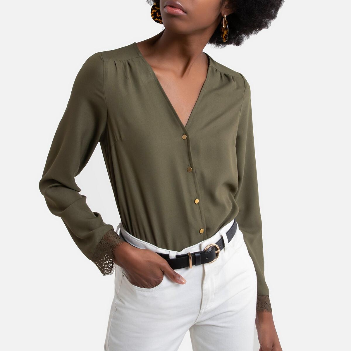 Фото - Блузка LaRedoute С V-образным вырезом кружевные вставки XS зеленый блузка laredoute с принтом и v образным вырезом длинные рукава xs зеленый