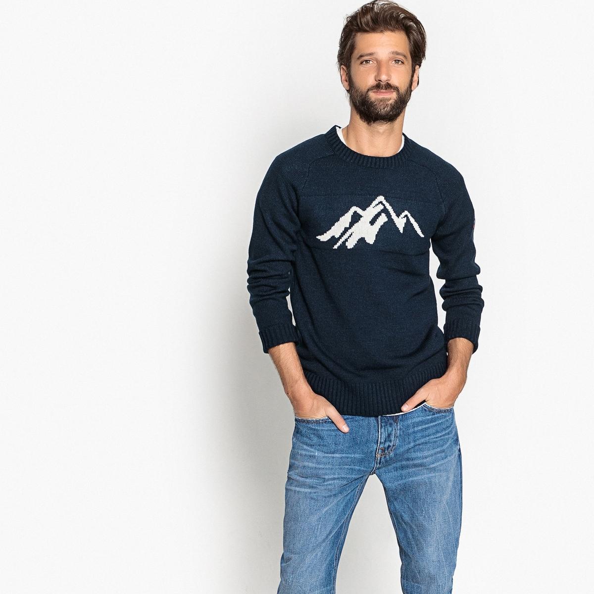 Пуловер La Redoute С круглым вырезом из плотного трикотажа 3XL синий пуловер la redoute с круглым вырезом из шерсти мериноса pascal 3xl черный